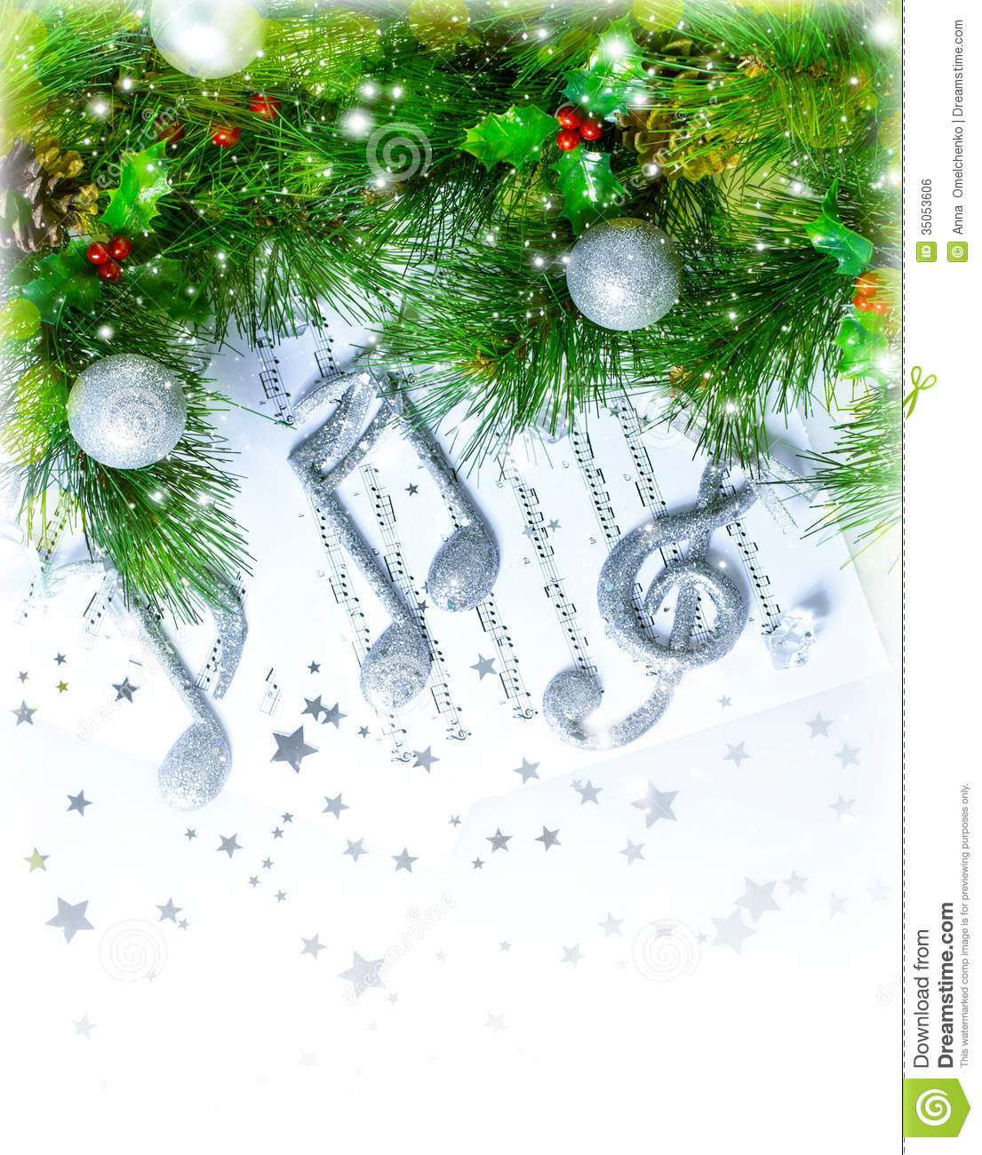 Image of christmas treble clef on notes pages beautiful melody