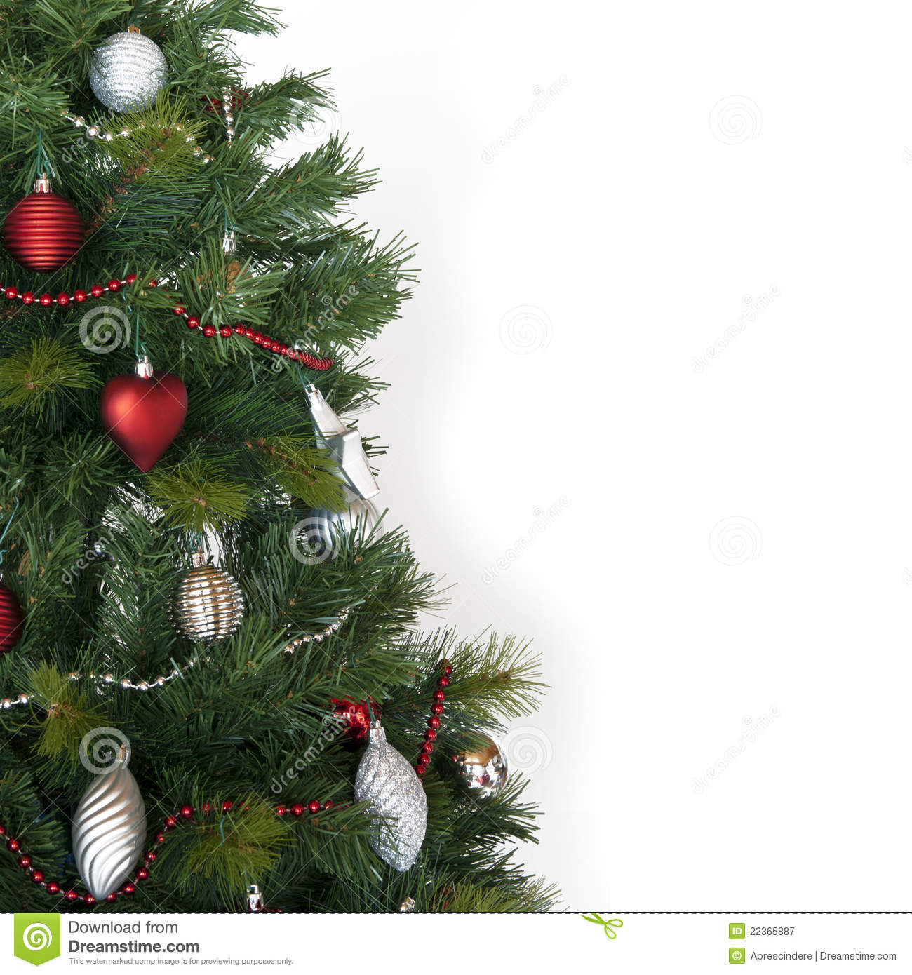 Christmas tree with decoration, isolated on white - for christmas card ...: www.dreamstime.com/royalty-free-stock-photography-christmas-tree...