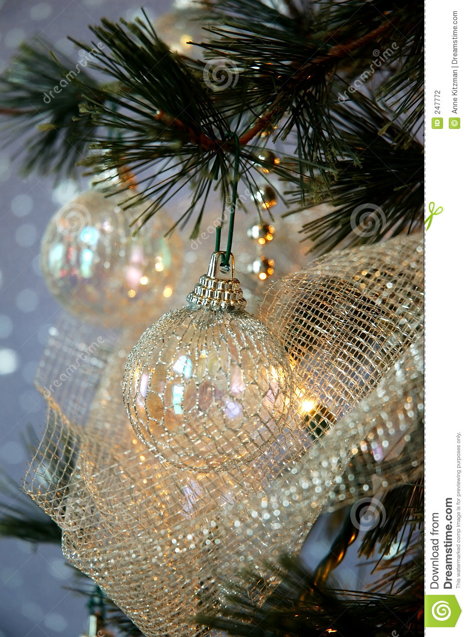 Christmas Tree Stock Photo Image Of Netting Holiday Beads 247772