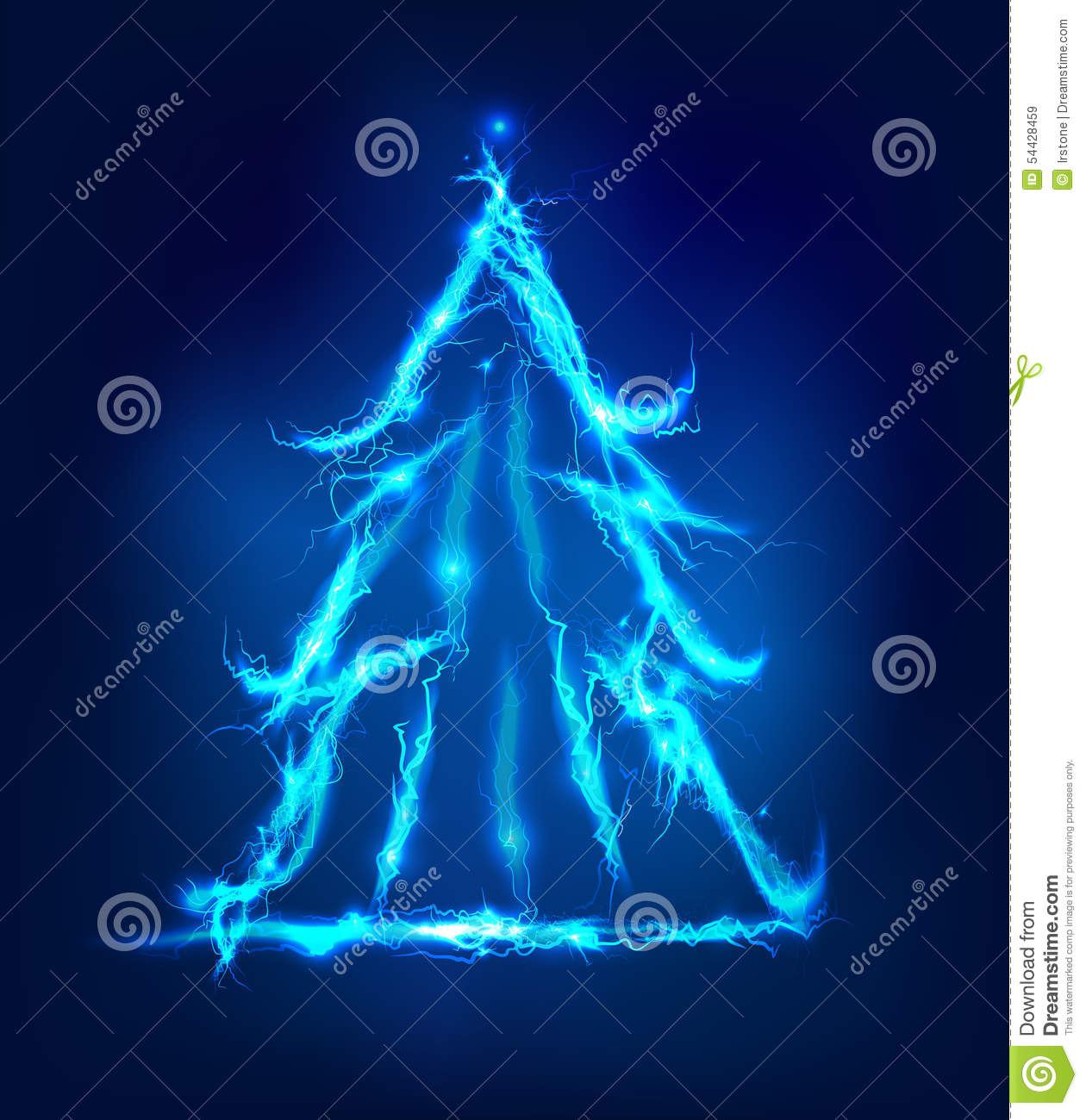 Christmas Tree, Abstract Background Made Of Electric