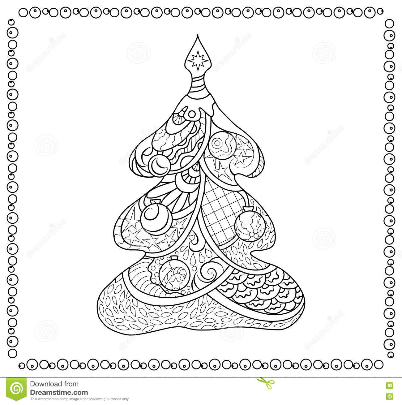 Christmas Tree Adult Coloring Page Stock Illustration Illustration