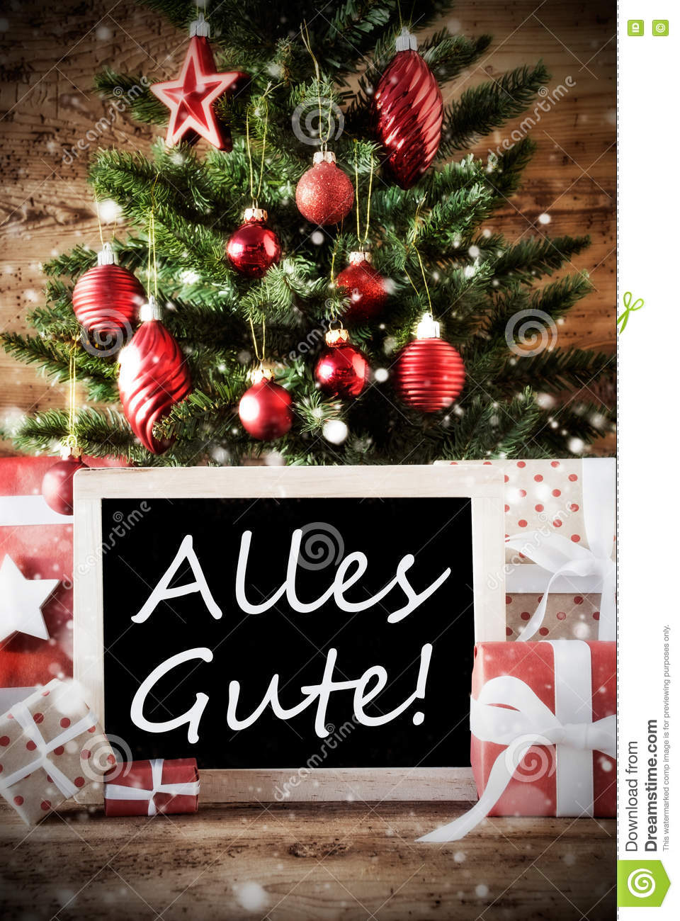 Christmas Tree With Alles Gute Means Best Wishes Stock Photo Image