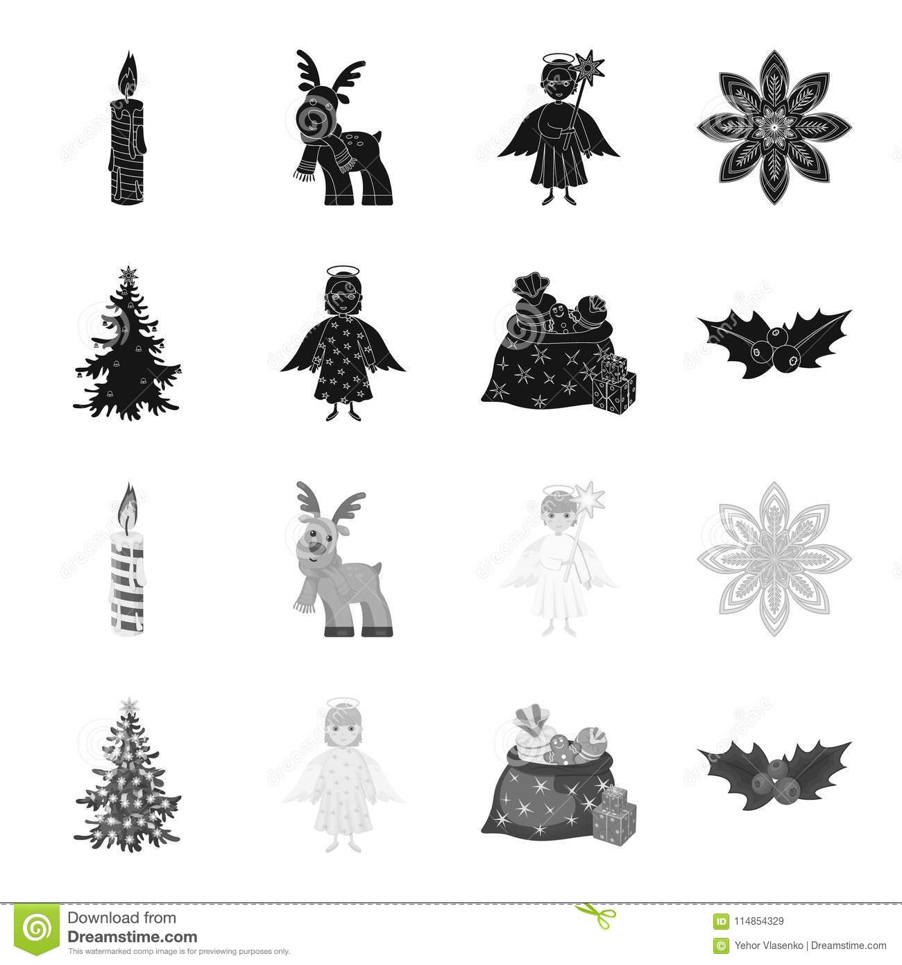 Christmas Tree Angel Gifts And Holly Black Monochrome Icons In Set