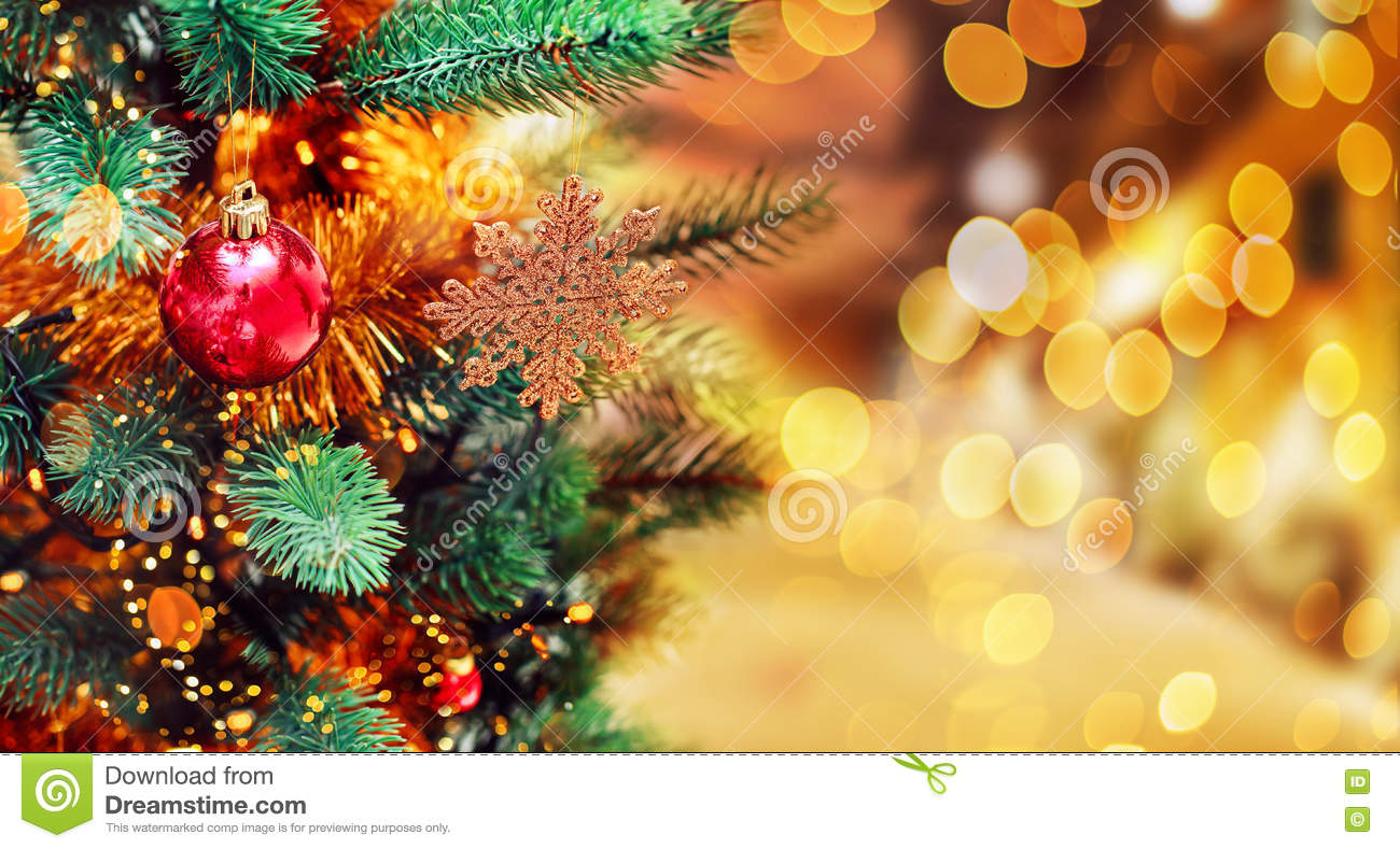 Christmas tree background and Christmas decorations with blurred, sparking, glowing. Happy New Year and Xmas