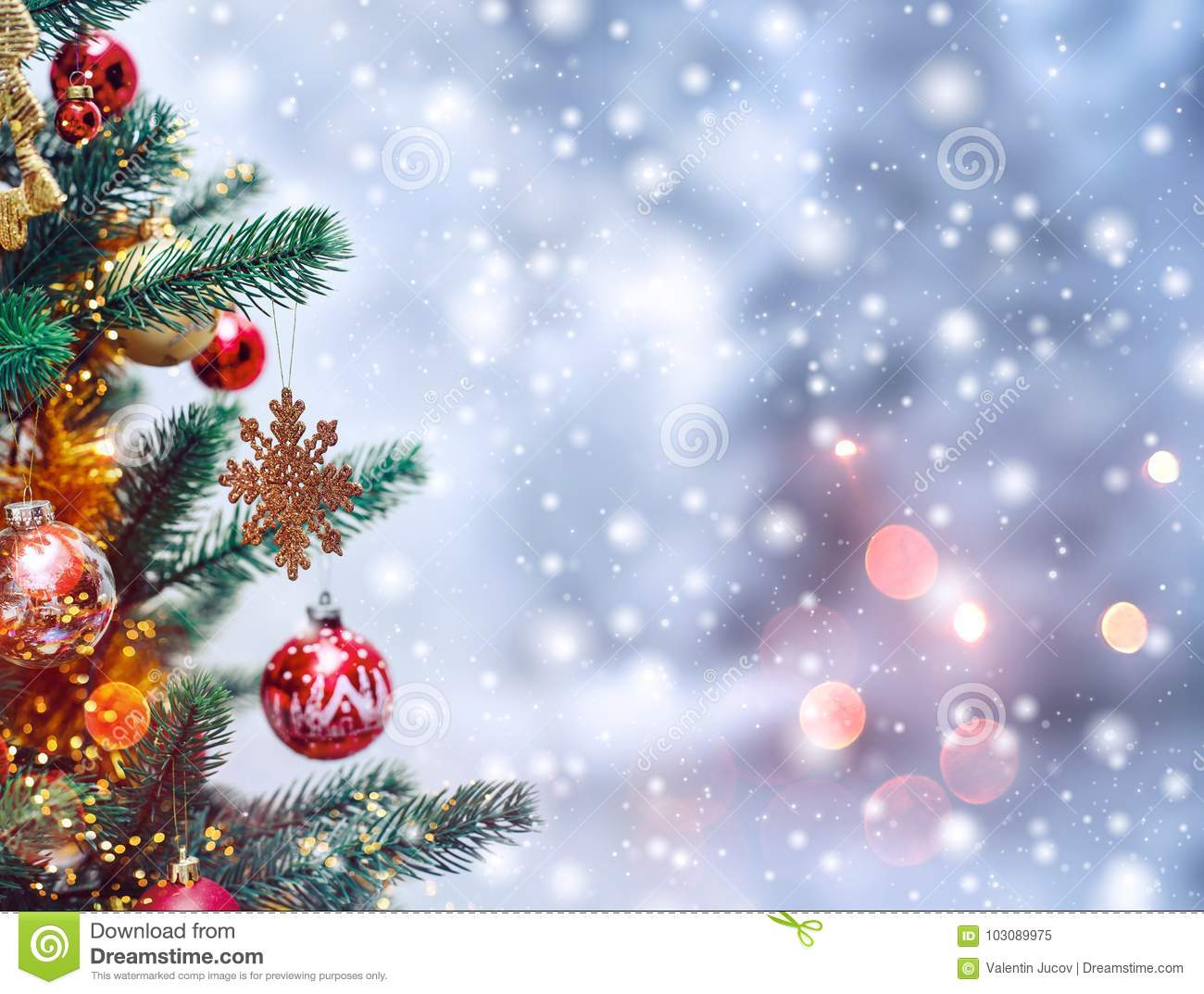 Christmas Tree Backgrounds.Christmas Tree Background And Christmas Decorations With