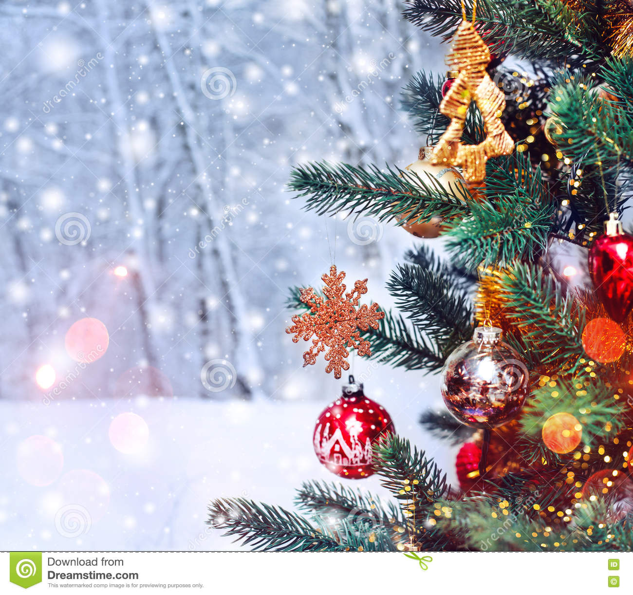 Christmas Decorations Background Pictures: Christmas Tree Background And Christmas Decorations With