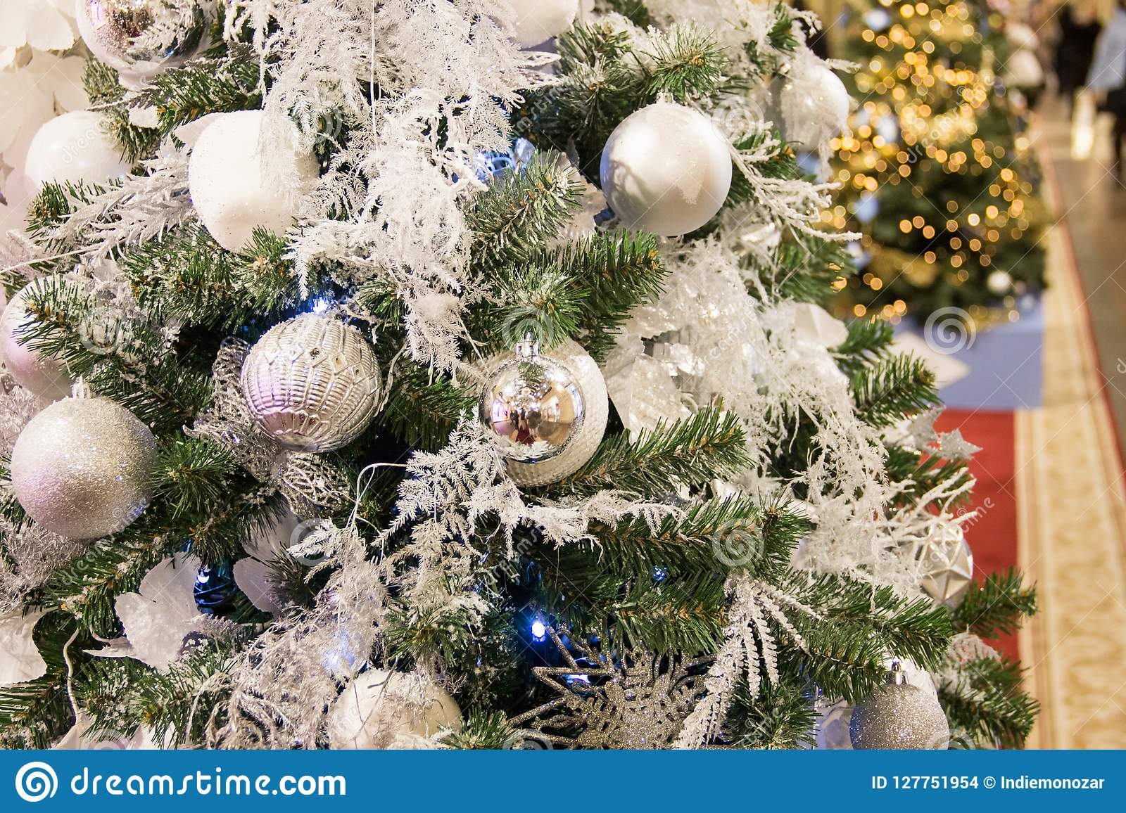 Christmas Tree Background And Christmas Decorations Stock Photo Image Of Christmas Merry 127751954