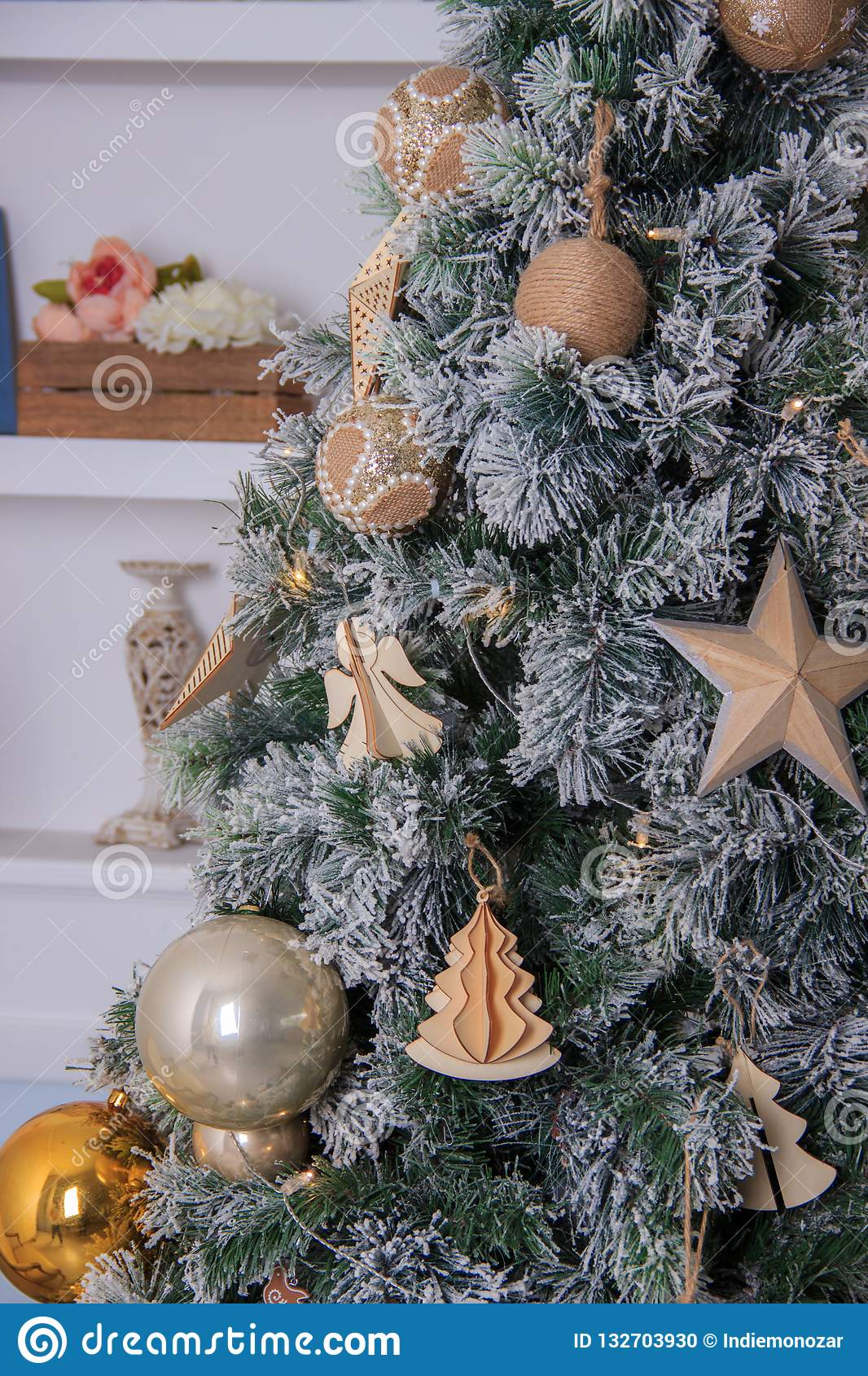 Christmas Tree Background And Christmas Decorations In The Modern Home Interior Stock Photo Image Of Celebration Bright 132703930