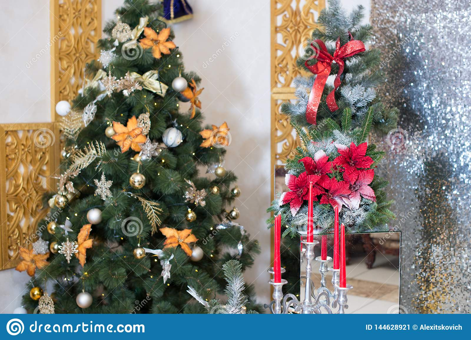 Christmas Tree Background And Christmas Decorations With ...