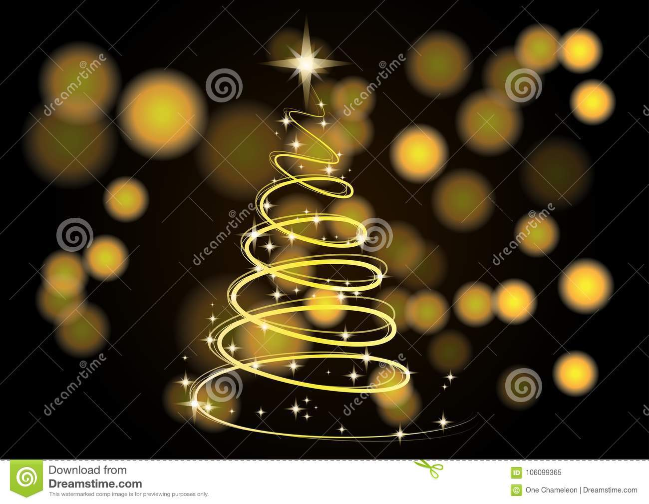 christmas tree background neon gold as symbol happy new year merry holiday magic light golden tint 106099365