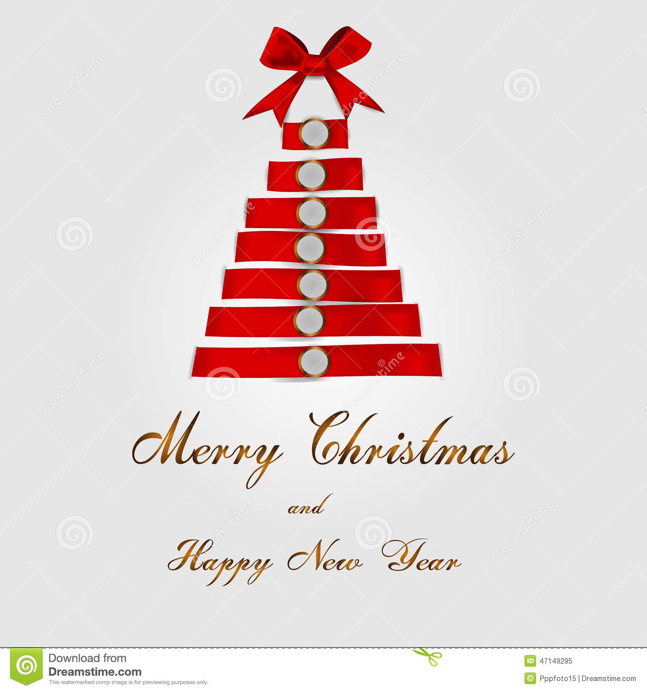 Christmas Tree With Red Ribbon: Christmas Tree Background With Red Ribbon Stock