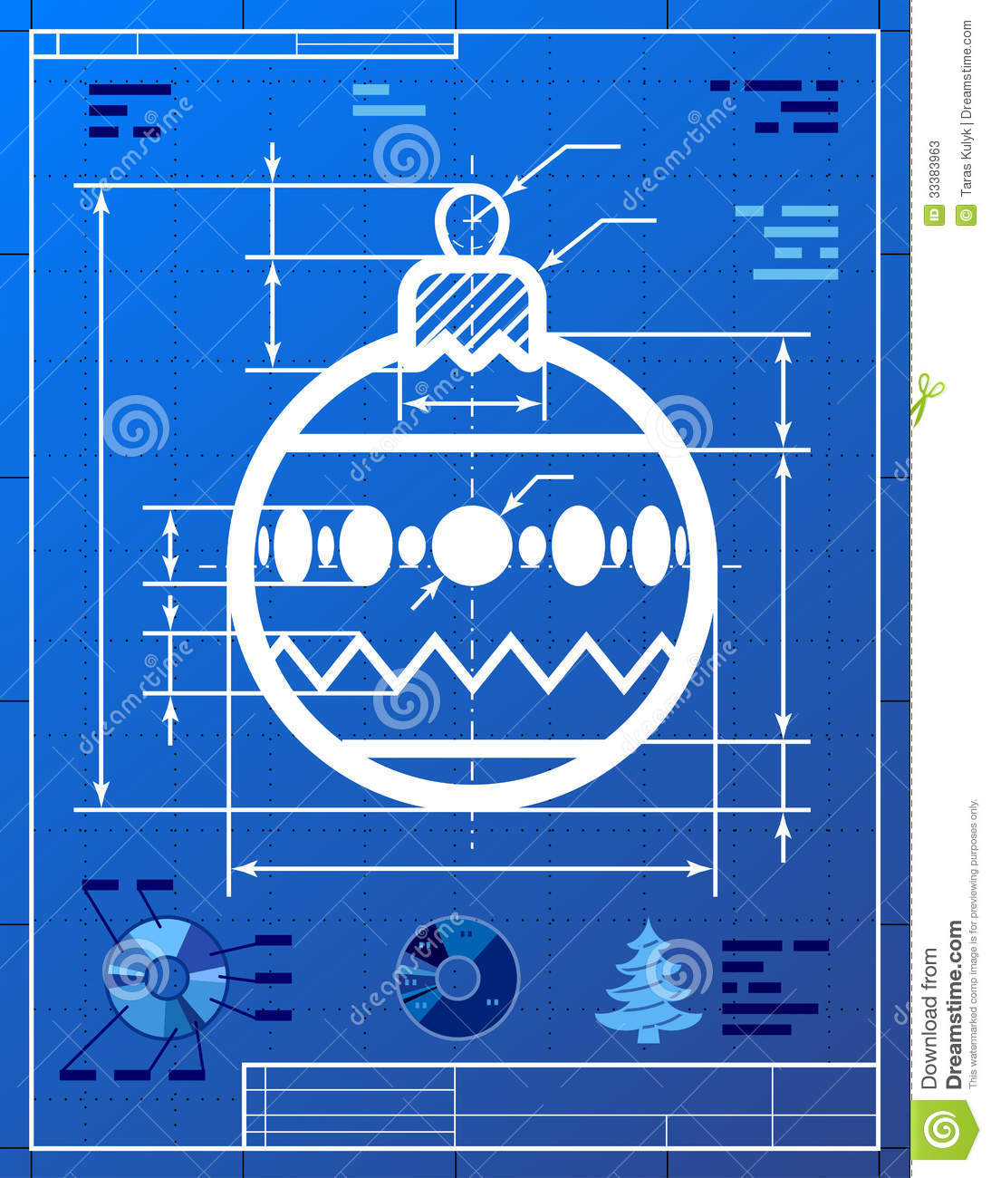 Christmas Tree Ball Symbol Like Blueprint Drawing Stock