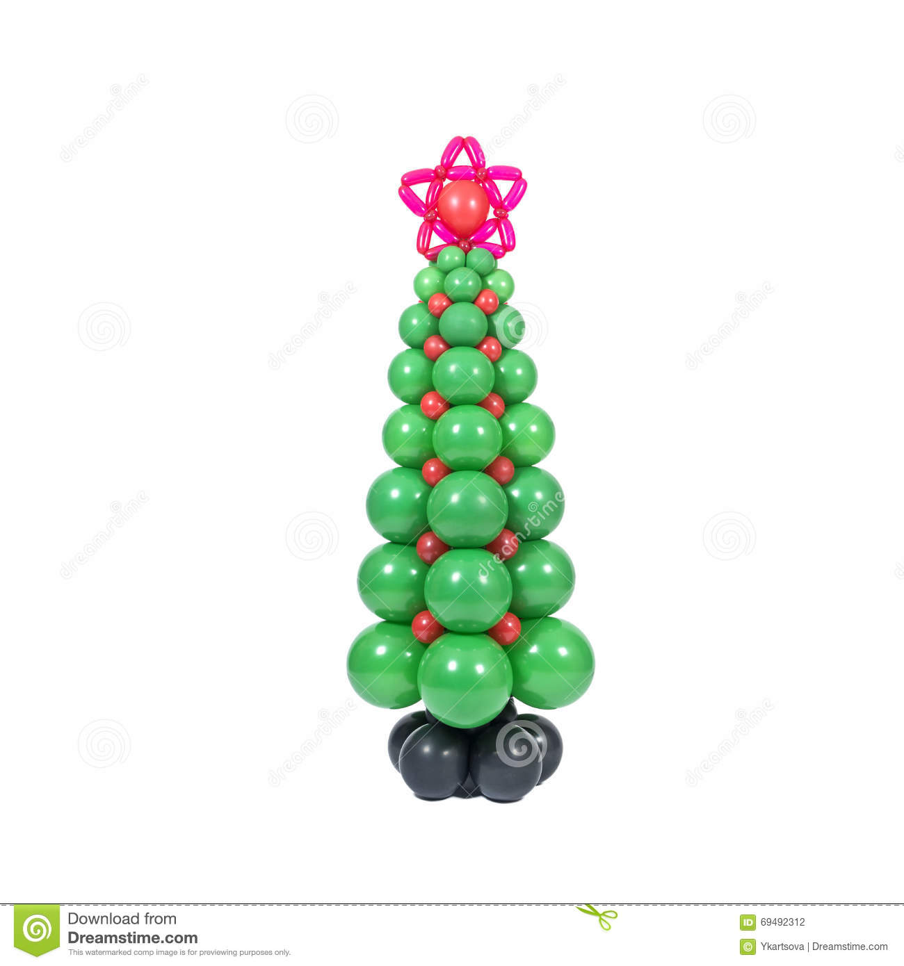 Christmas Tree Balloon.Christmas Tree From Balloons Stock Photo Image Of Bauble