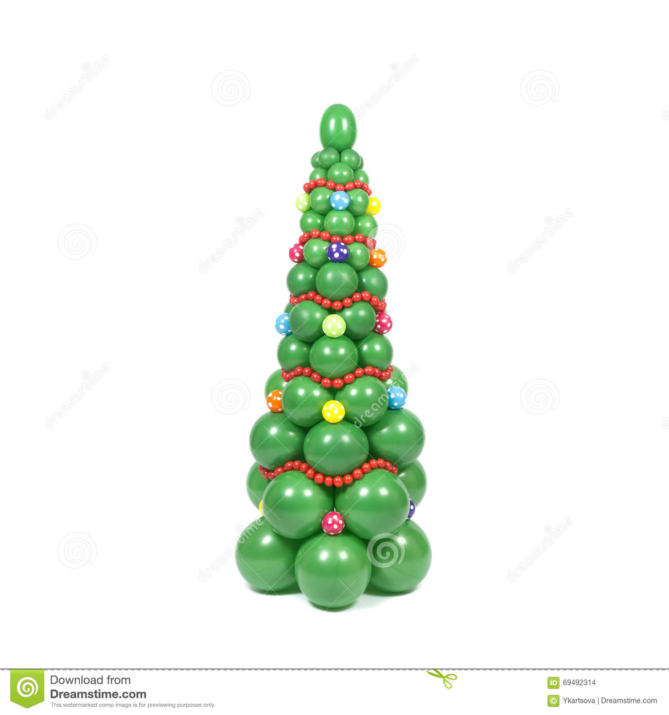 Decorated Christmas Tree White Background