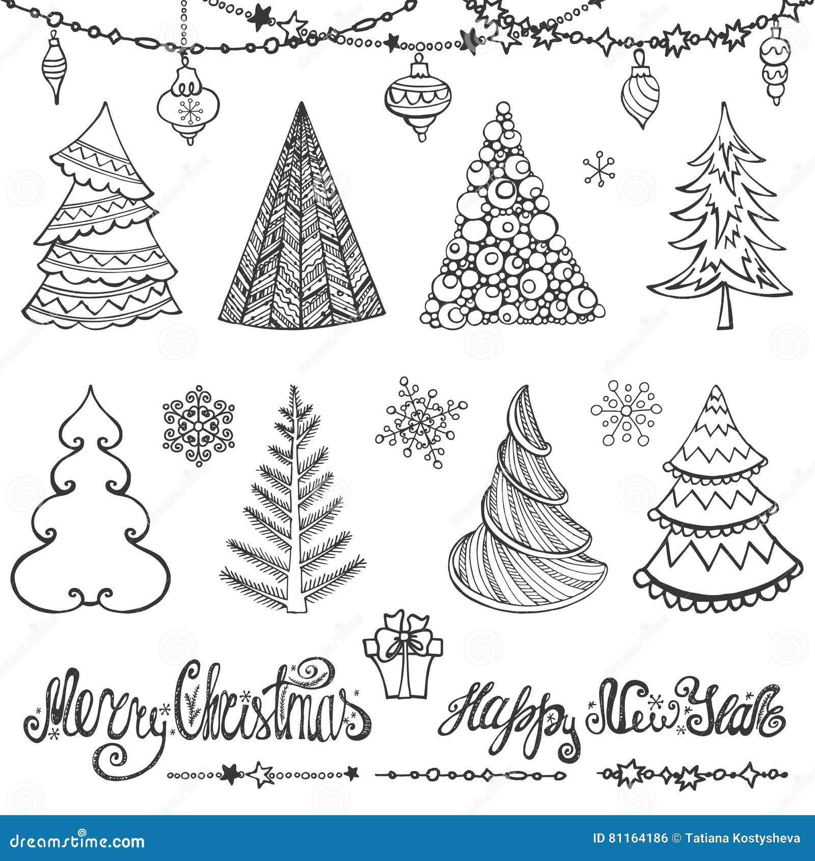 Christmas Tree, Balls,decor,wishes.Black Stock Vector - Illustration ...