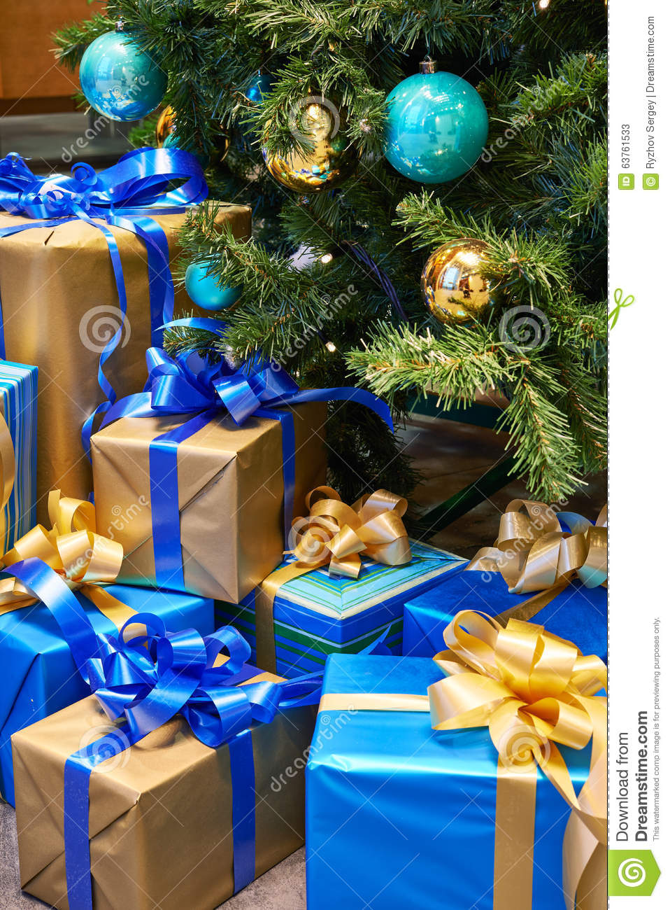 Christmas balls with yellow bows royalty free stock photo