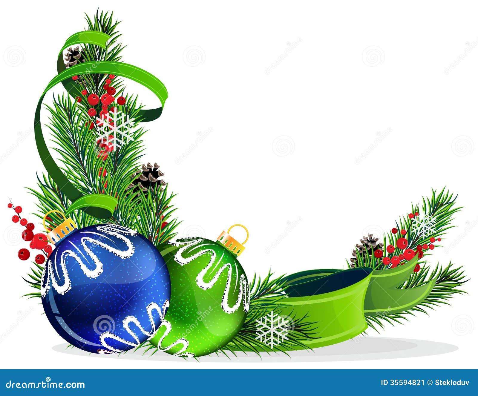 Christmas tree balls with green ribbon stock image
