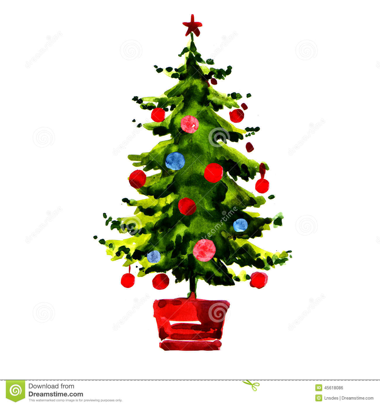 Christmas Tree With Balls Isolated Stock Illustration - Illustration ...
