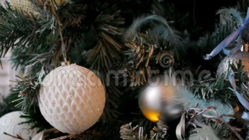 Christmas tree with balls and ornaments stock footage video
