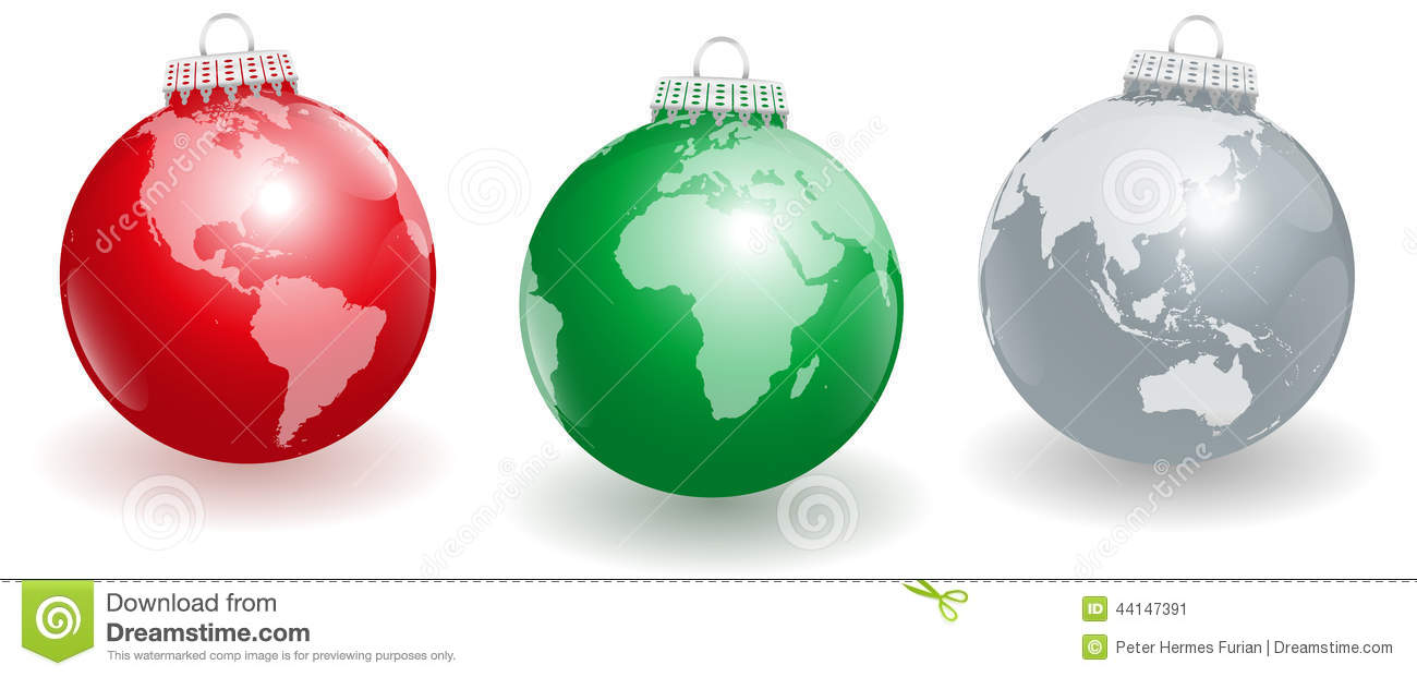 Christmas tree balls planet earth stock vector image