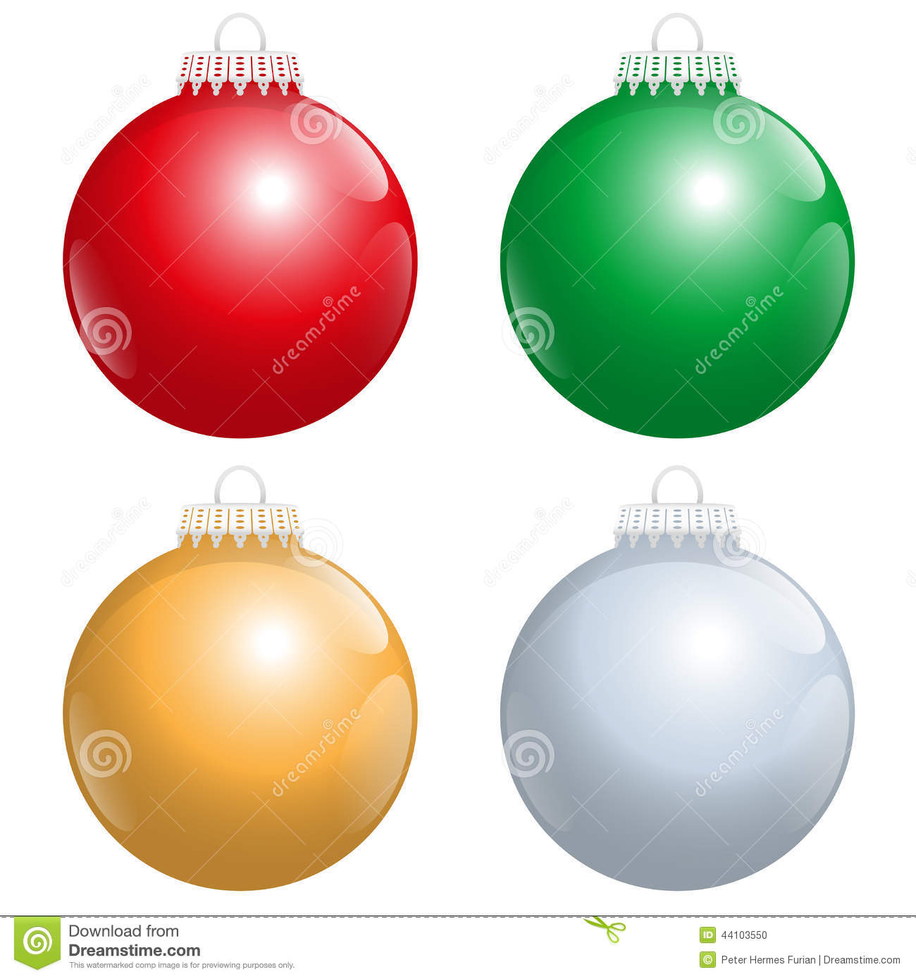 Christmas tree balls red green gold silver stock vector