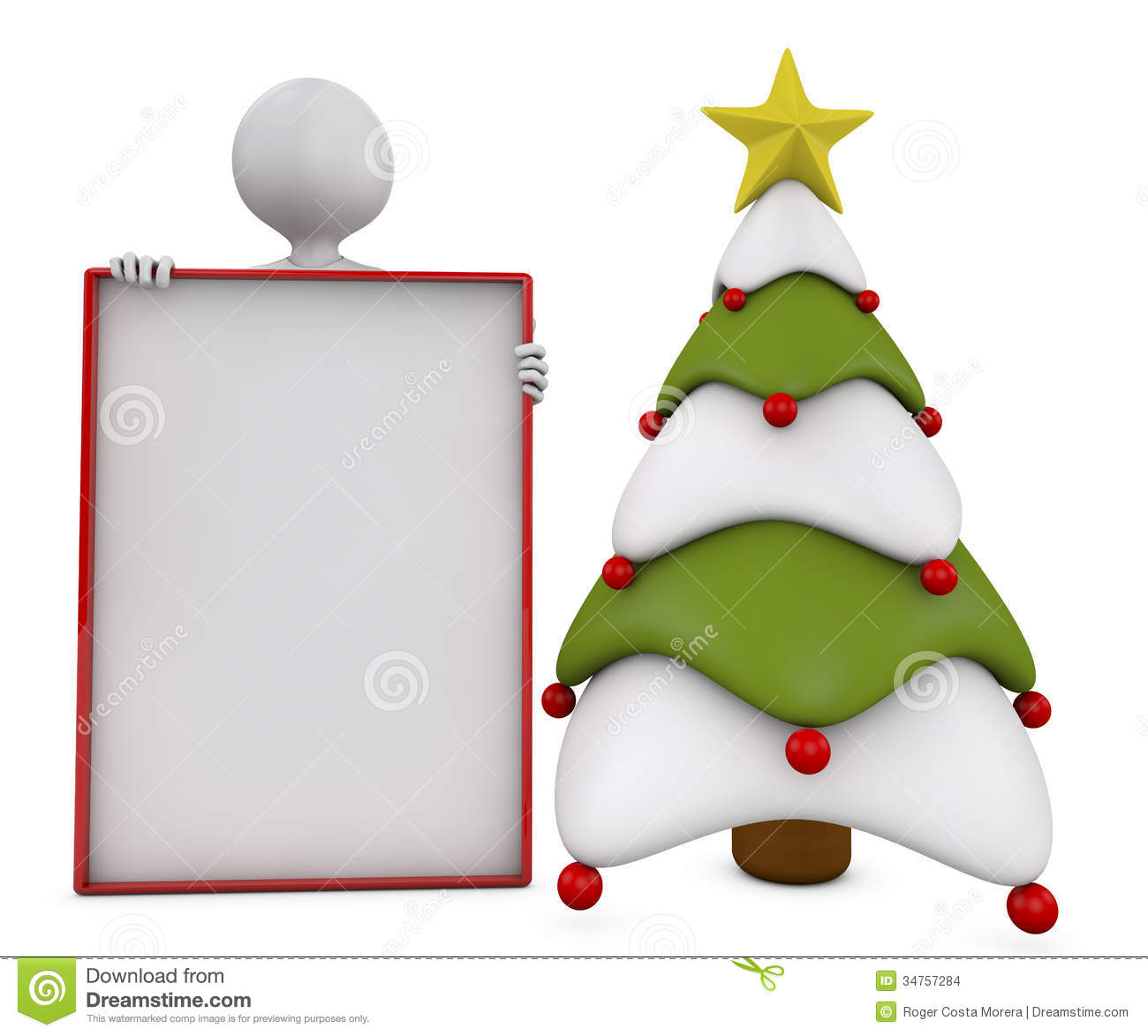 Christmas Tree, Banner And Character Stock Images - Image: 34757284