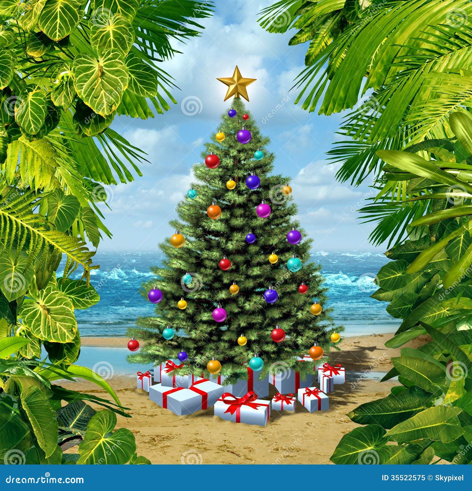 Christmas Tree Beach Celebration Stock Illustration ...