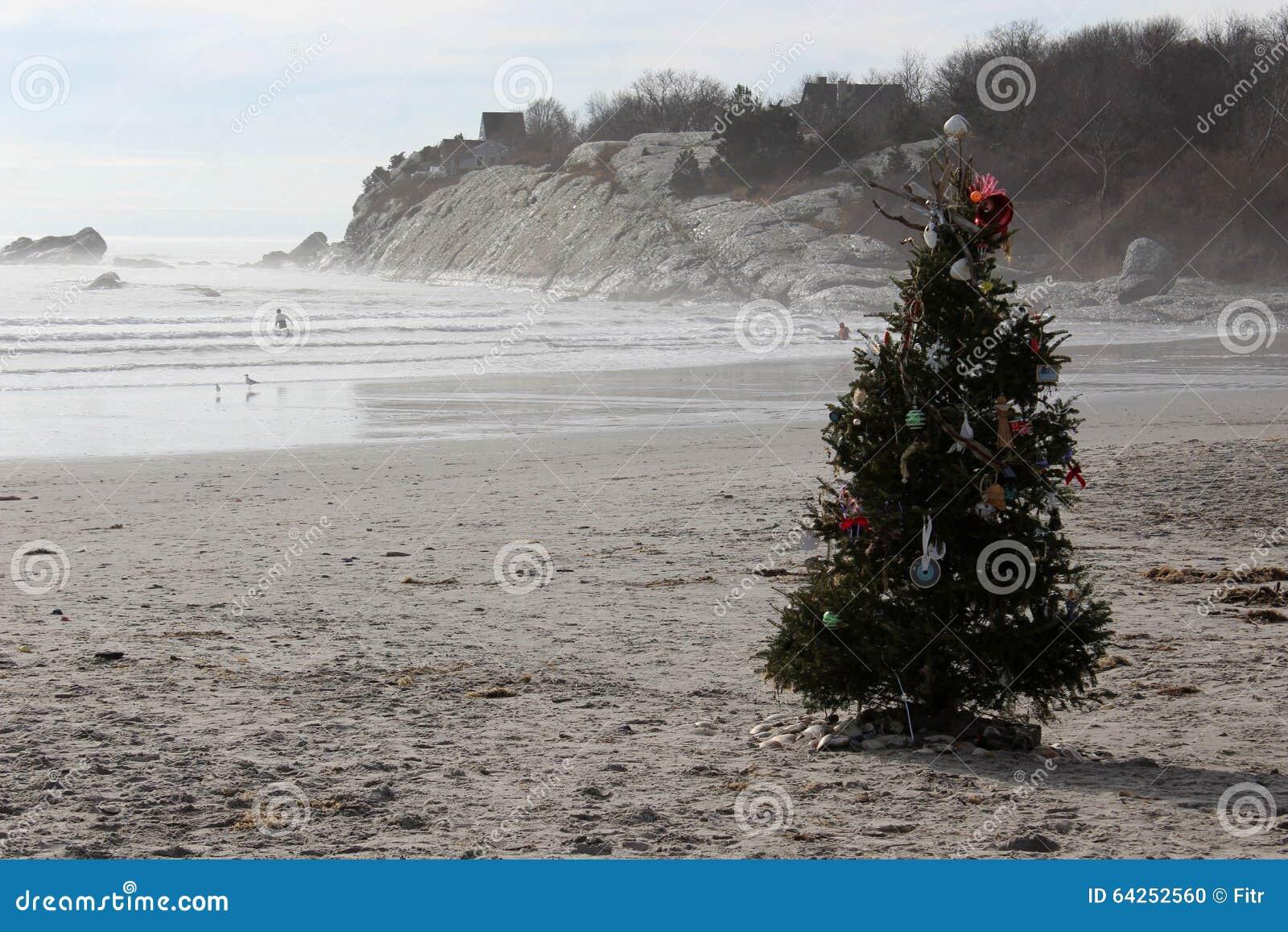 Christmas Tree on beach stock photo. Image of decorated ...