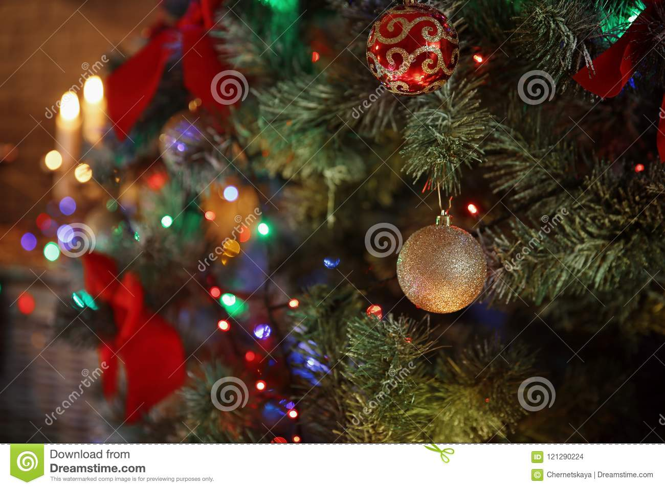 Christmas Decoration Indoors.Christmas Tree With Beautiful Decorations Indoors Stock