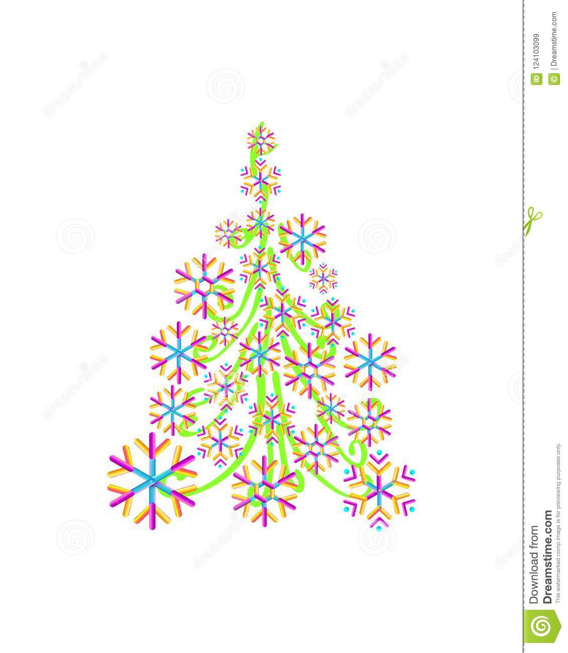 Christmas Tree From Beautiful Geometric Snowflake Pattern For