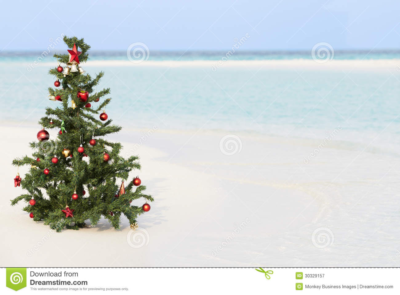 Christmas Tree On Beautiful Tropical Beach Royalty Free Stock ...