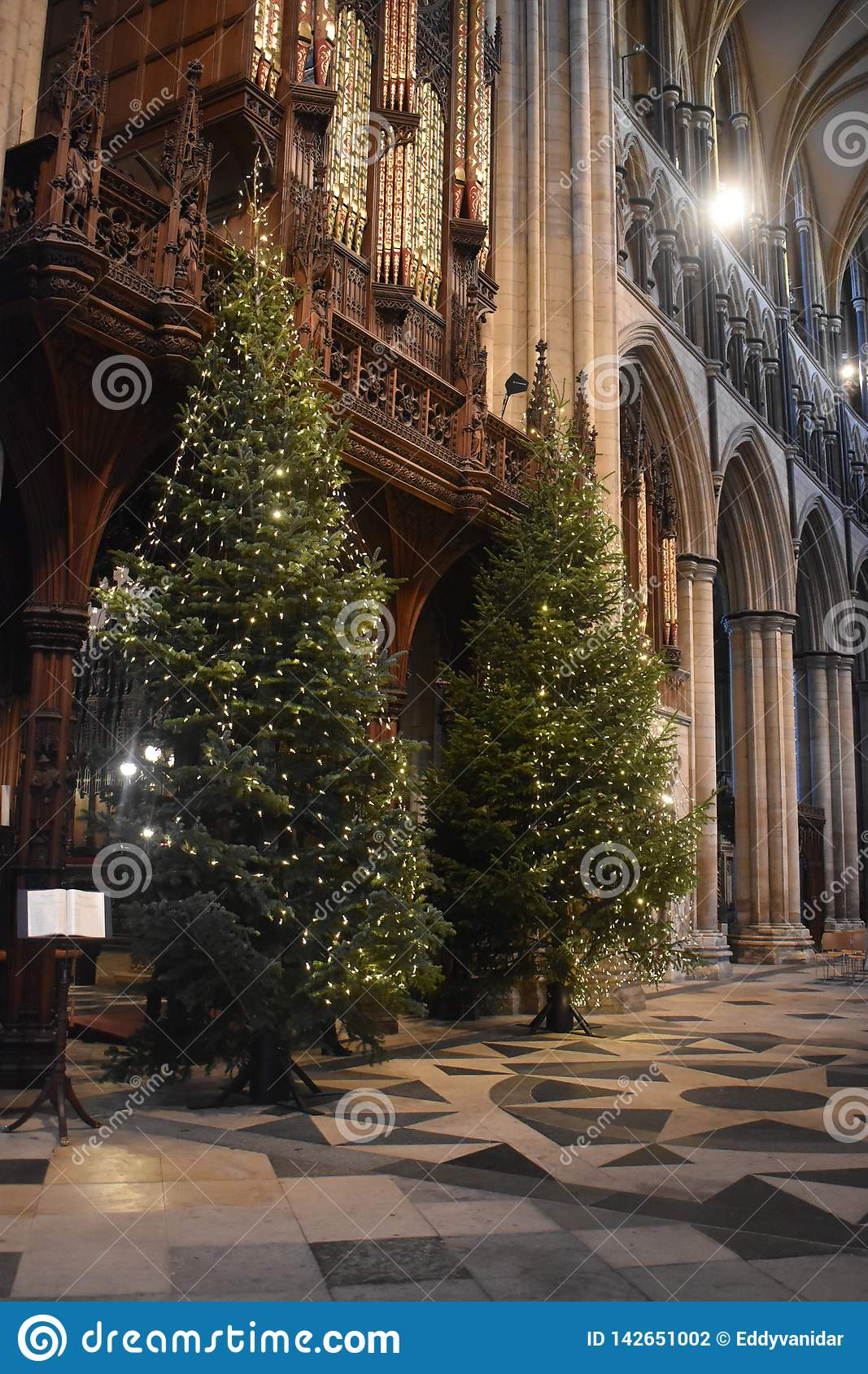 England Christmas Tree.Christmas Tree In Beverley Minister Yorkshire England Stock