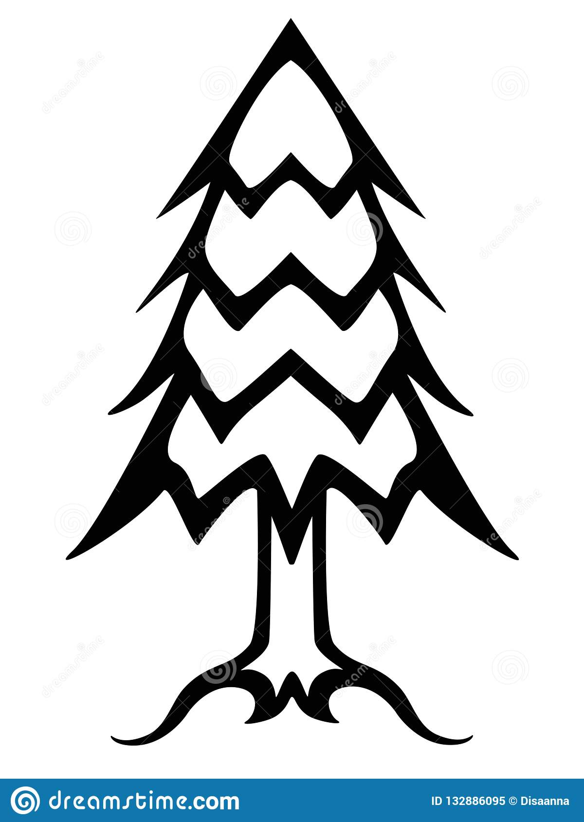 Christmas tree black and white linear picture. Outline conifer tree vector illustration.