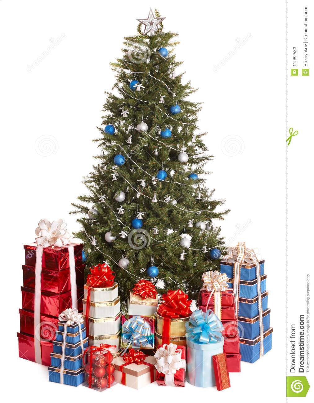 christmas tree with blue ball group gift box stock. Black Bedroom Furniture Sets. Home Design Ideas