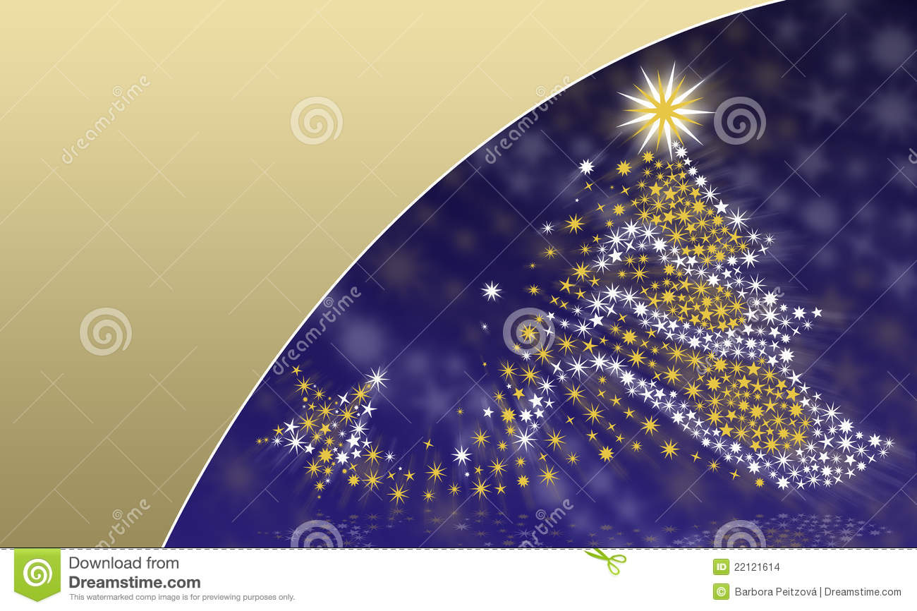 Christmas tree on a blue gold background stock for Blue gold and white christmas tree