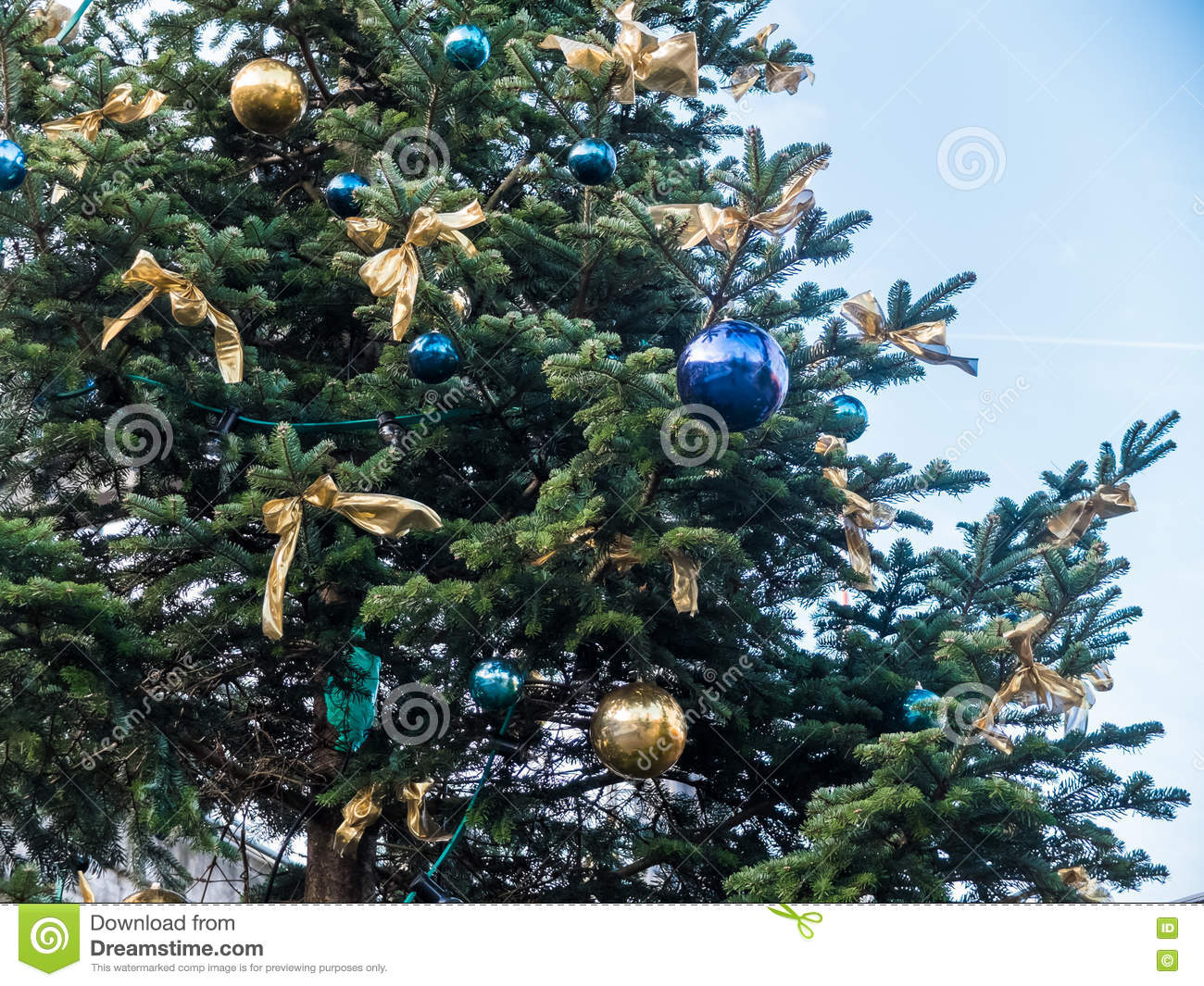 Christmas Tree With Blue And Gold Ornaments Stock Photo - Image ...