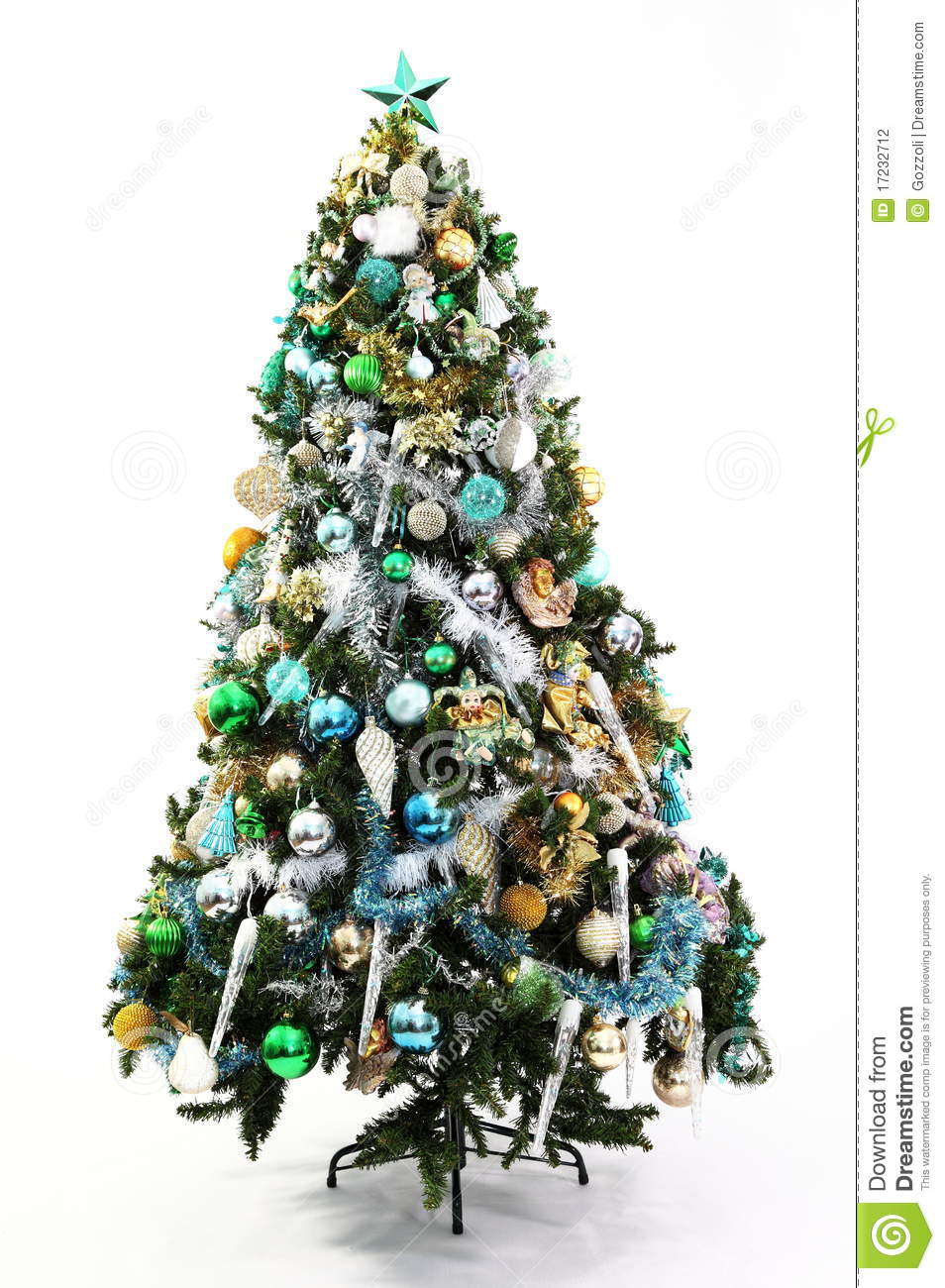 White christmas tree with blue and green decorations - photo#5
