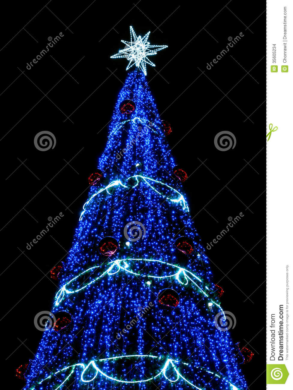 christmas tree with blue light - Christmas Tree With Blue Lights