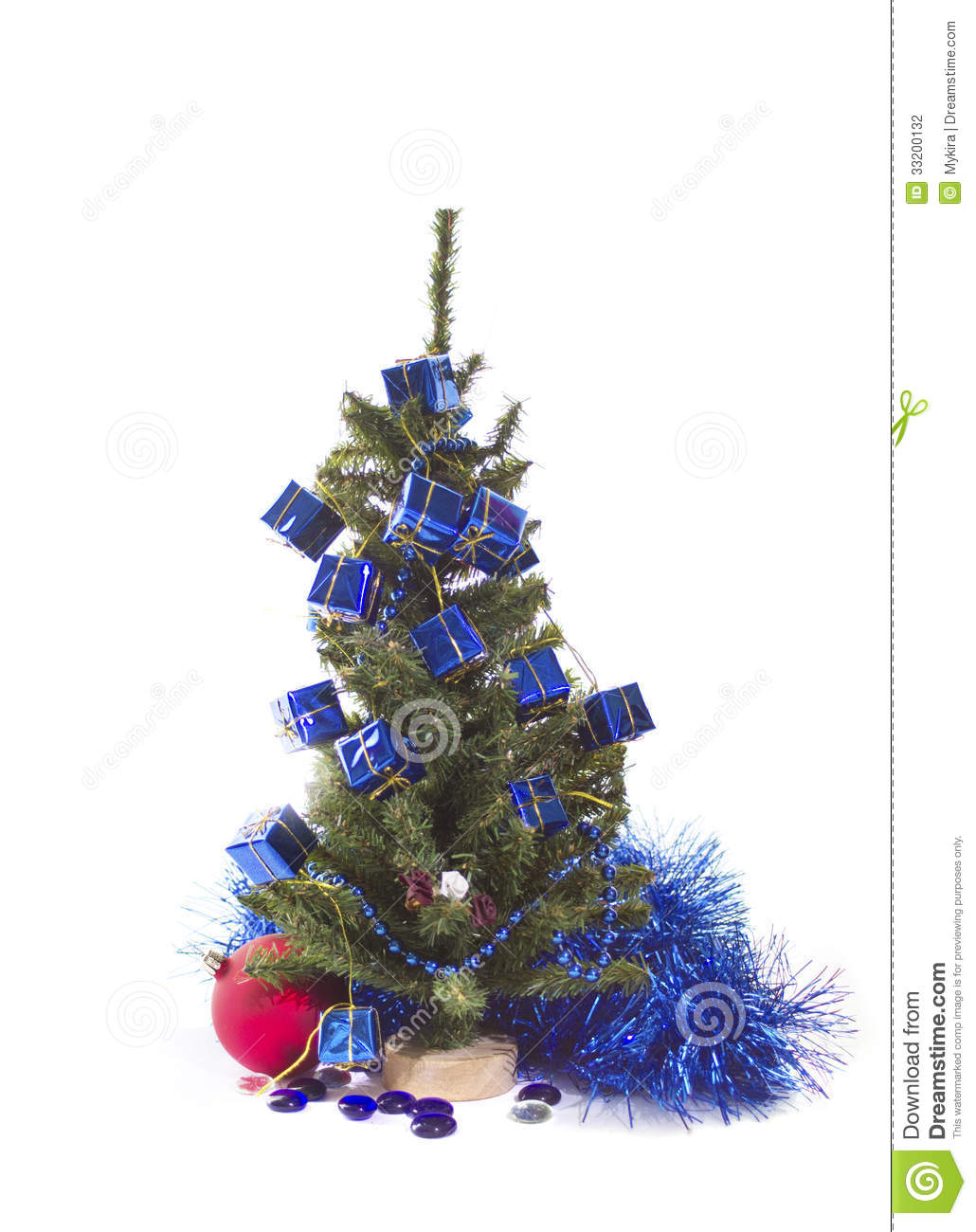 Christmas Tree With Blue And Red Decorations Stock Photo Image Of Event Greeting 33200132