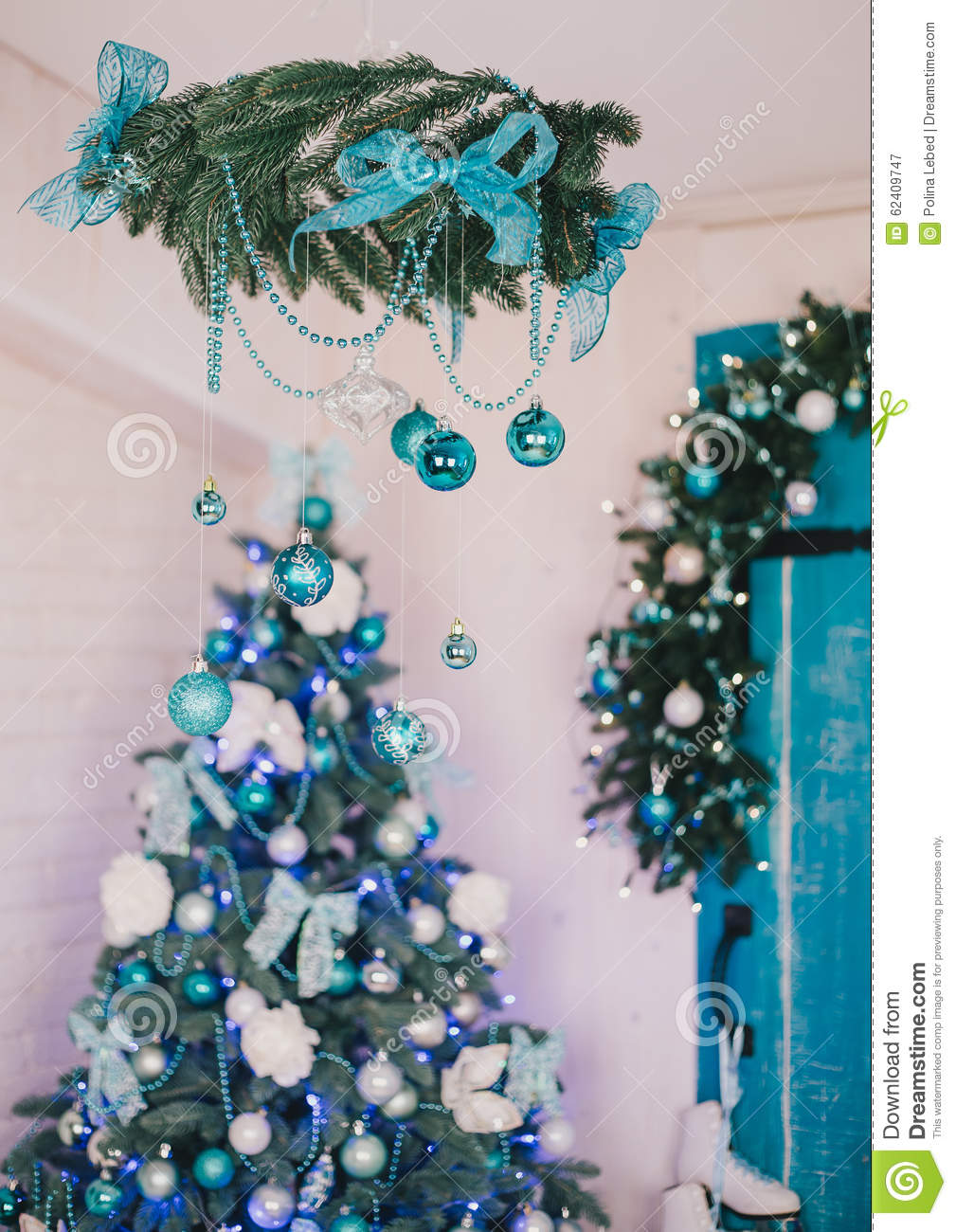 christmas tree with blue and silver details in the interior