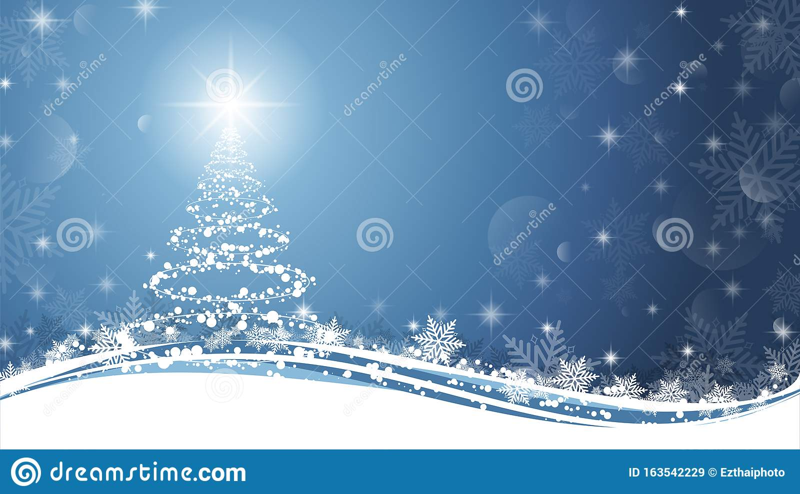 christmas tree blue white background sparkling as symbol happy new year merry holiday celebration copy space bright 163542229