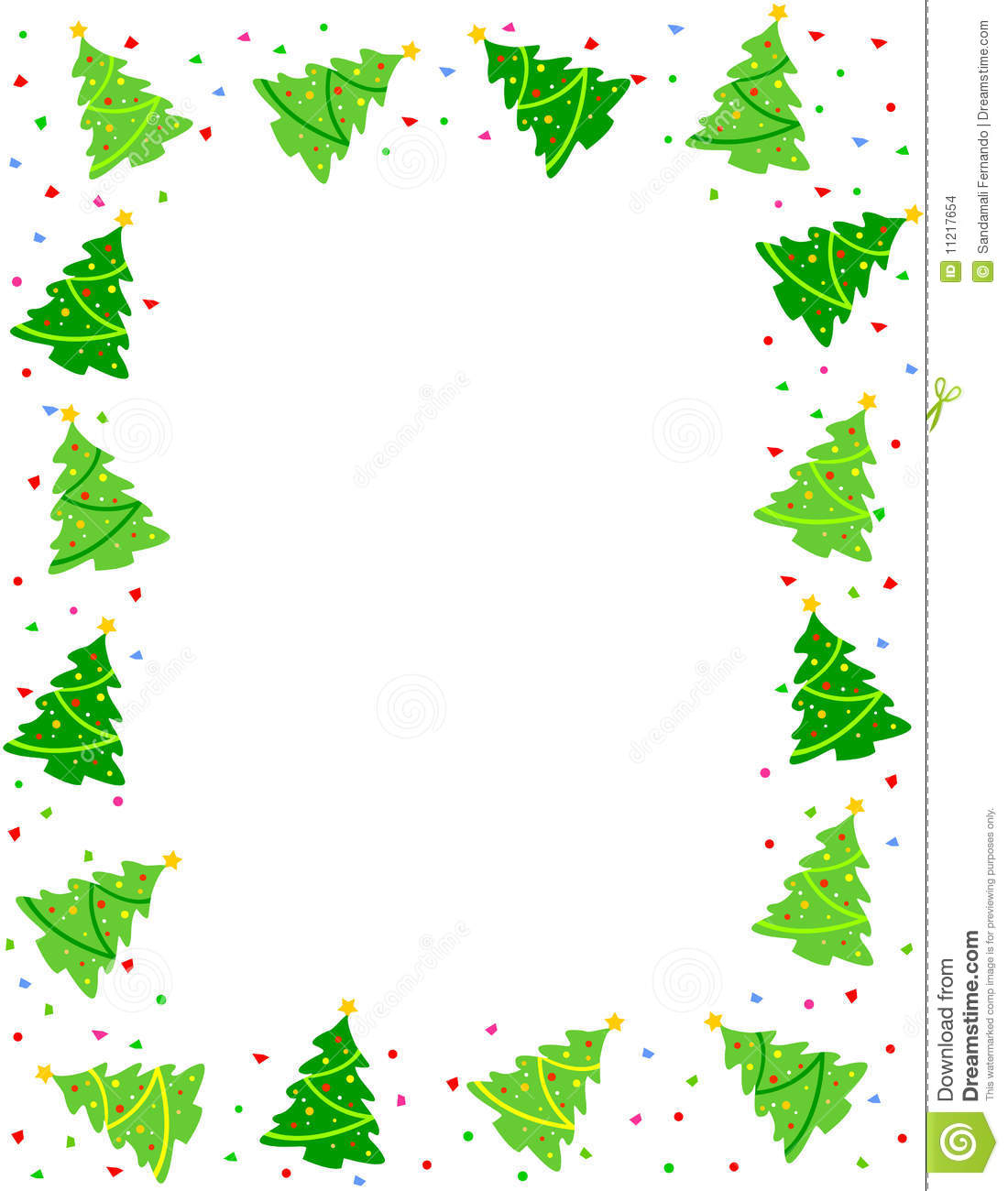 Beautiful christmas trees with colorful falling confetti border.: https://www.dreamstime.com/stock-images-christmas-tree-border...
