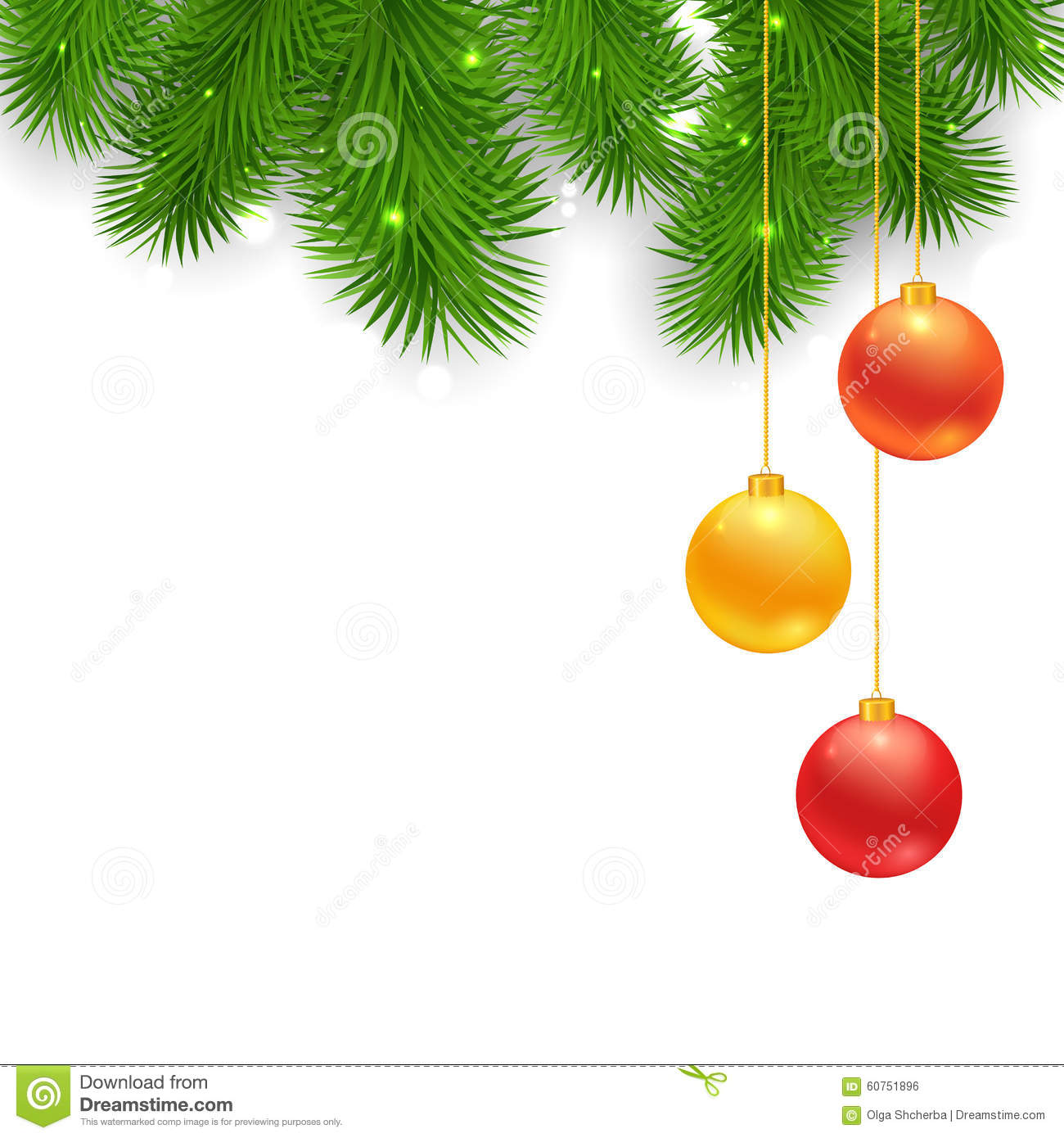 Christmas tree borders with hanging balls stock vector