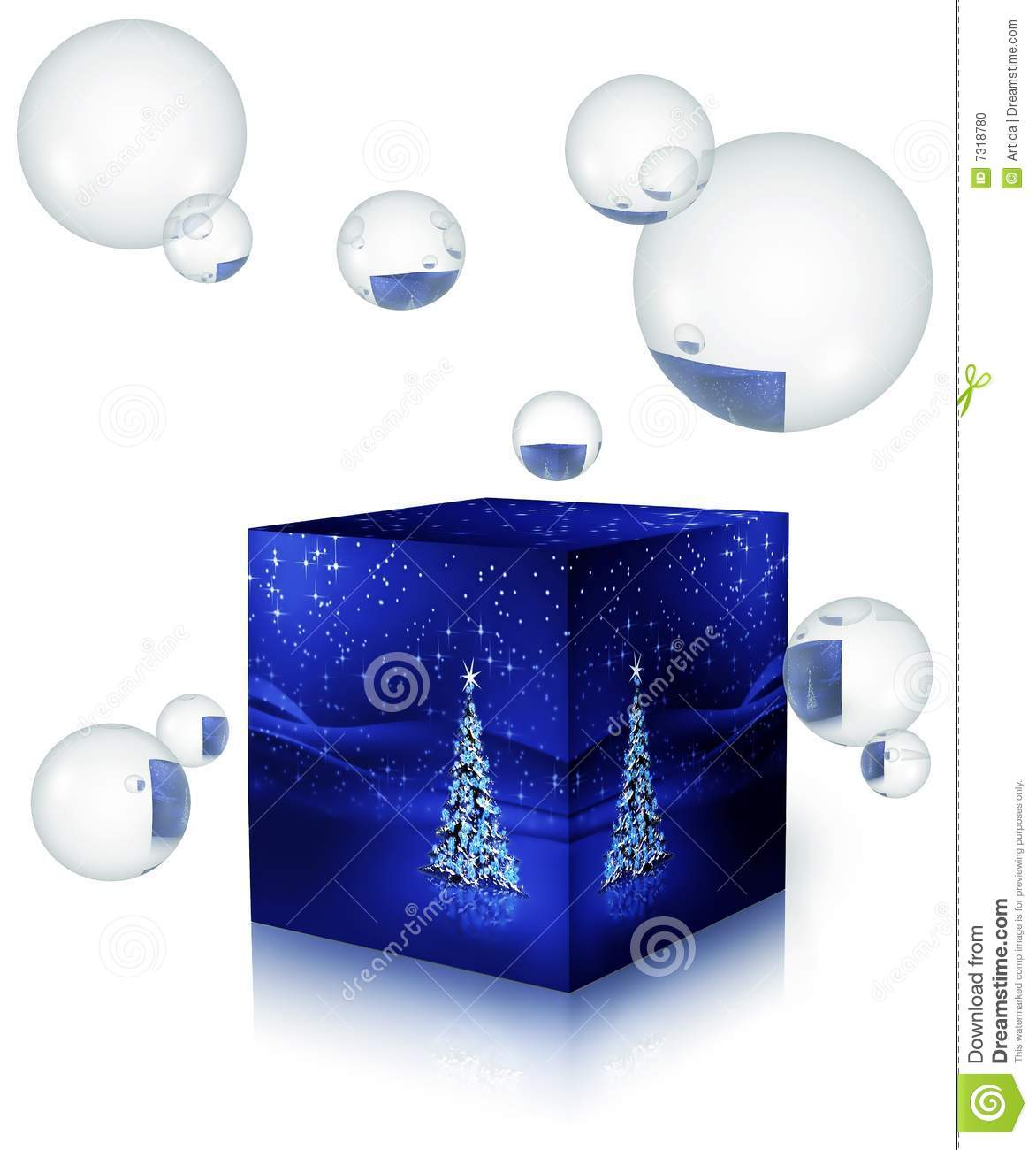 Christmas tree in a box with bubbles stock photo image for Christmas tree in a box