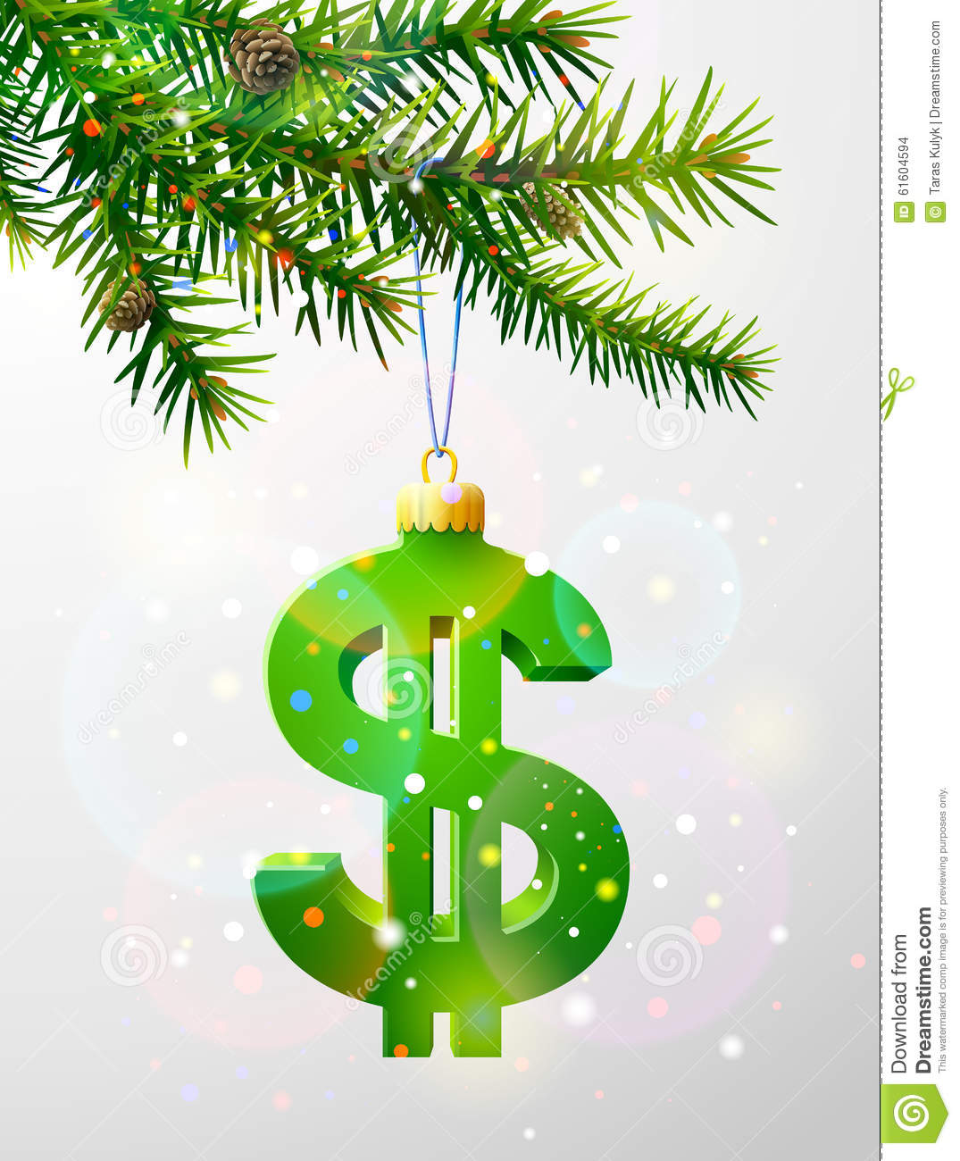 Finance Tree: Christmas Tree Branch With Decorative Dollar Symbol Stock