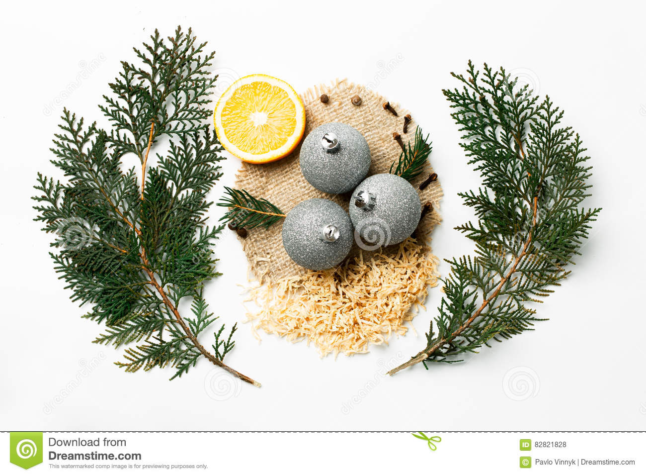 Christmas Tree Branch Lemon New Year Decoration Balls On White Creative Concept Space For Text Logo Flat Stock Photo Image Of Card Nature 82821828