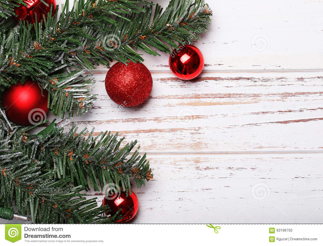 Christmas tree branch with red balls stock photo image
