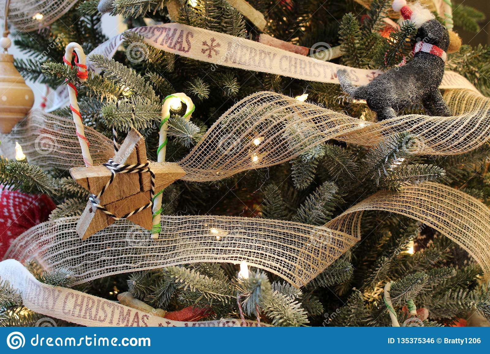 Christmas Tree Branches Covered With Wood And Toy Christmas Ornaments Stock Photo Image Of Bright Color 135375346