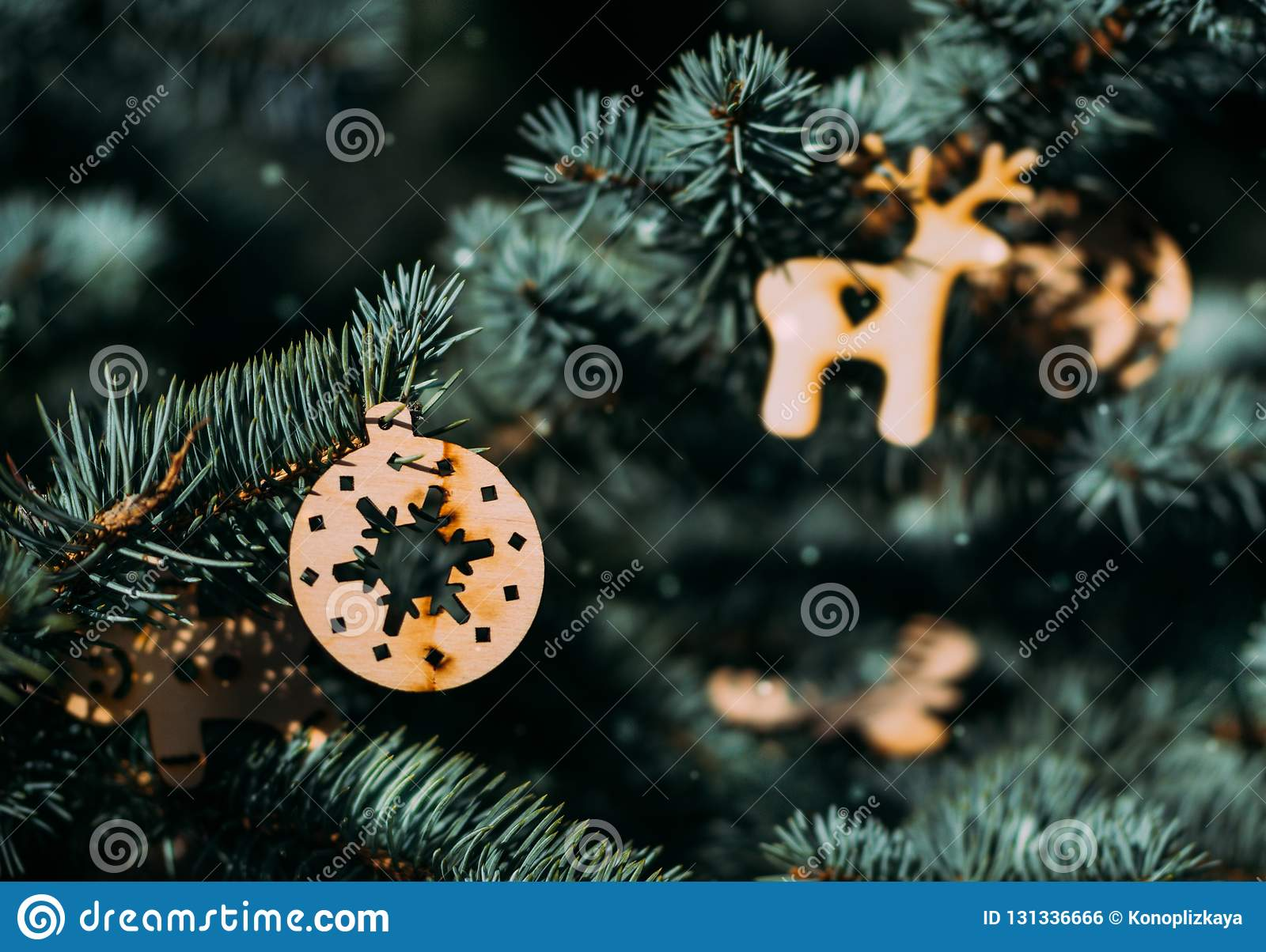 Christmas Tree And Beautiful Christmas Decorations Stock Photo Image Of Nativity Gingerbread 131336666
