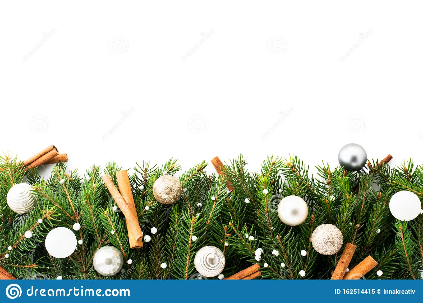 Christmas Tree Branches Decorated With Toys And Cinnamon Sticks On A White Place For Text Stock Image Image Of Natural Green 162514415